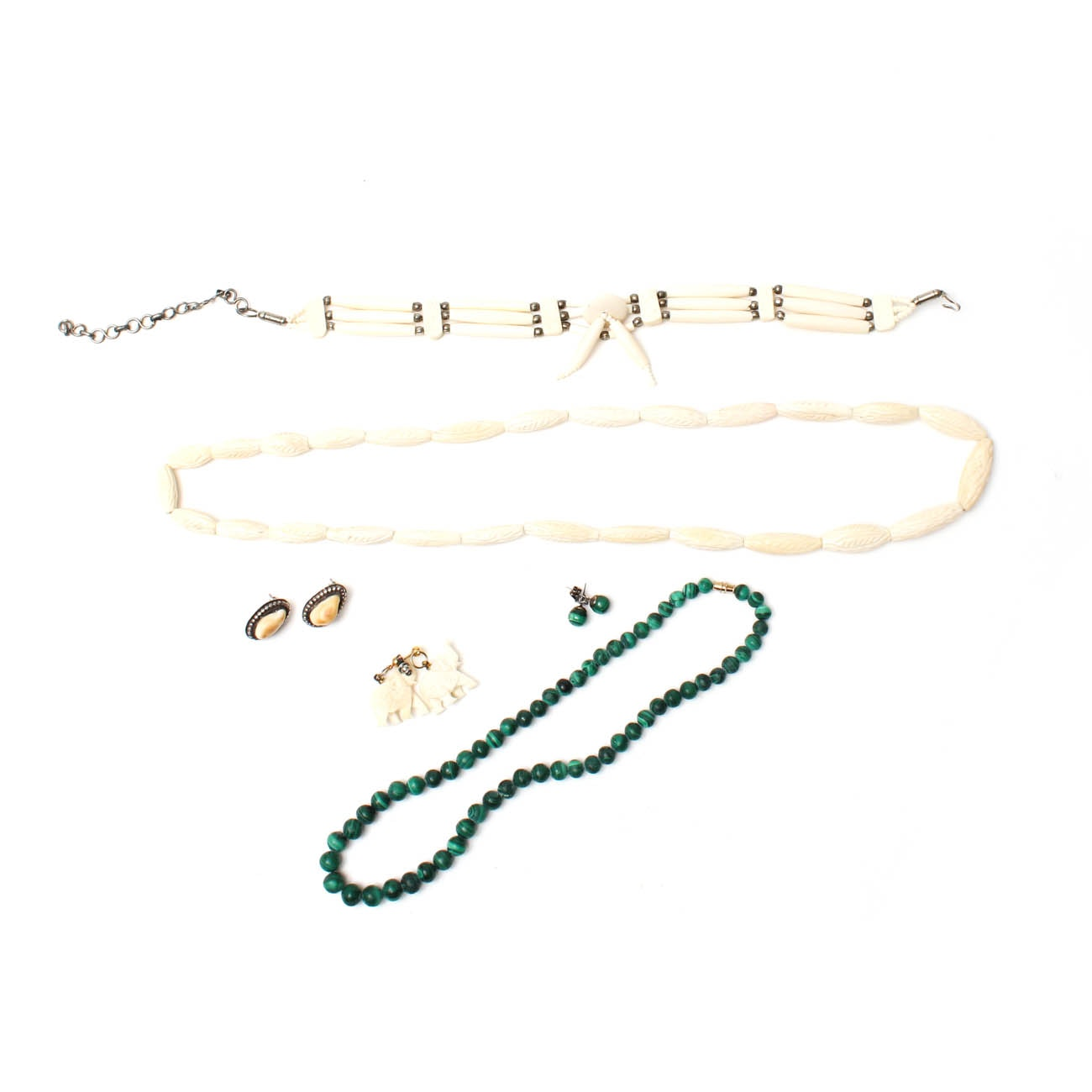 Selection of Jewelry Featuring Malachite, Bone, and Elk Teeth