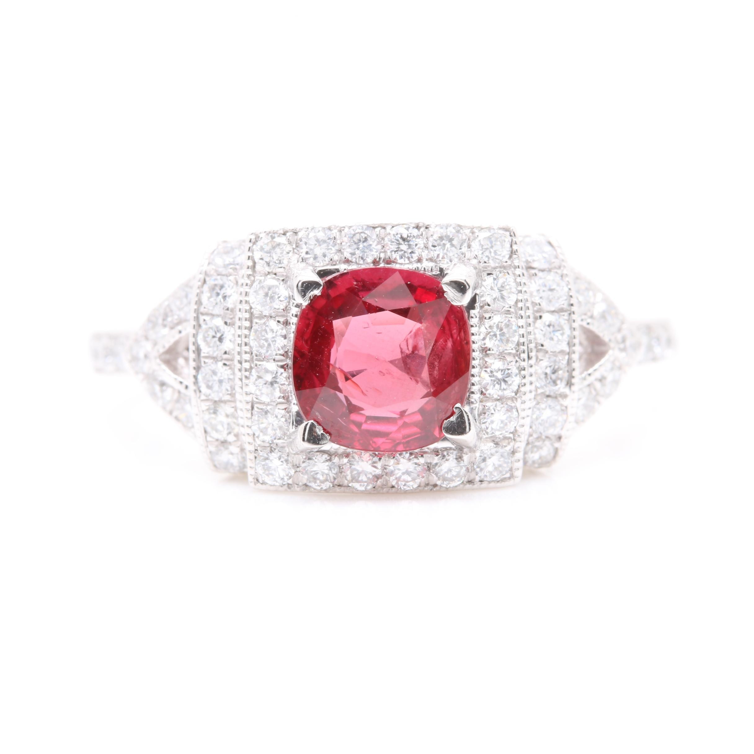 Platinum 1.10 CT Ruby and Diamond Ring Including GIA Ruby Report