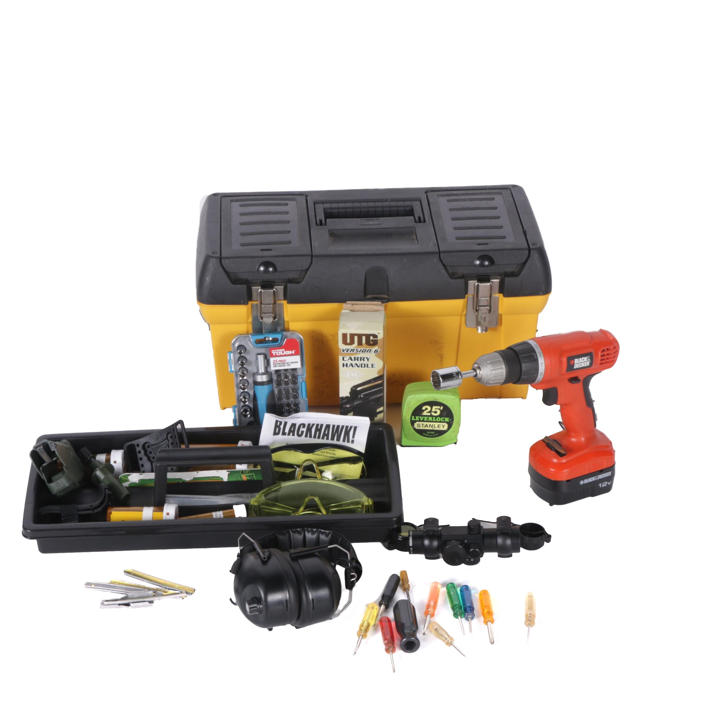 Three Plastic Toolboxes, Cordless Drill and Safety Ear Muffs