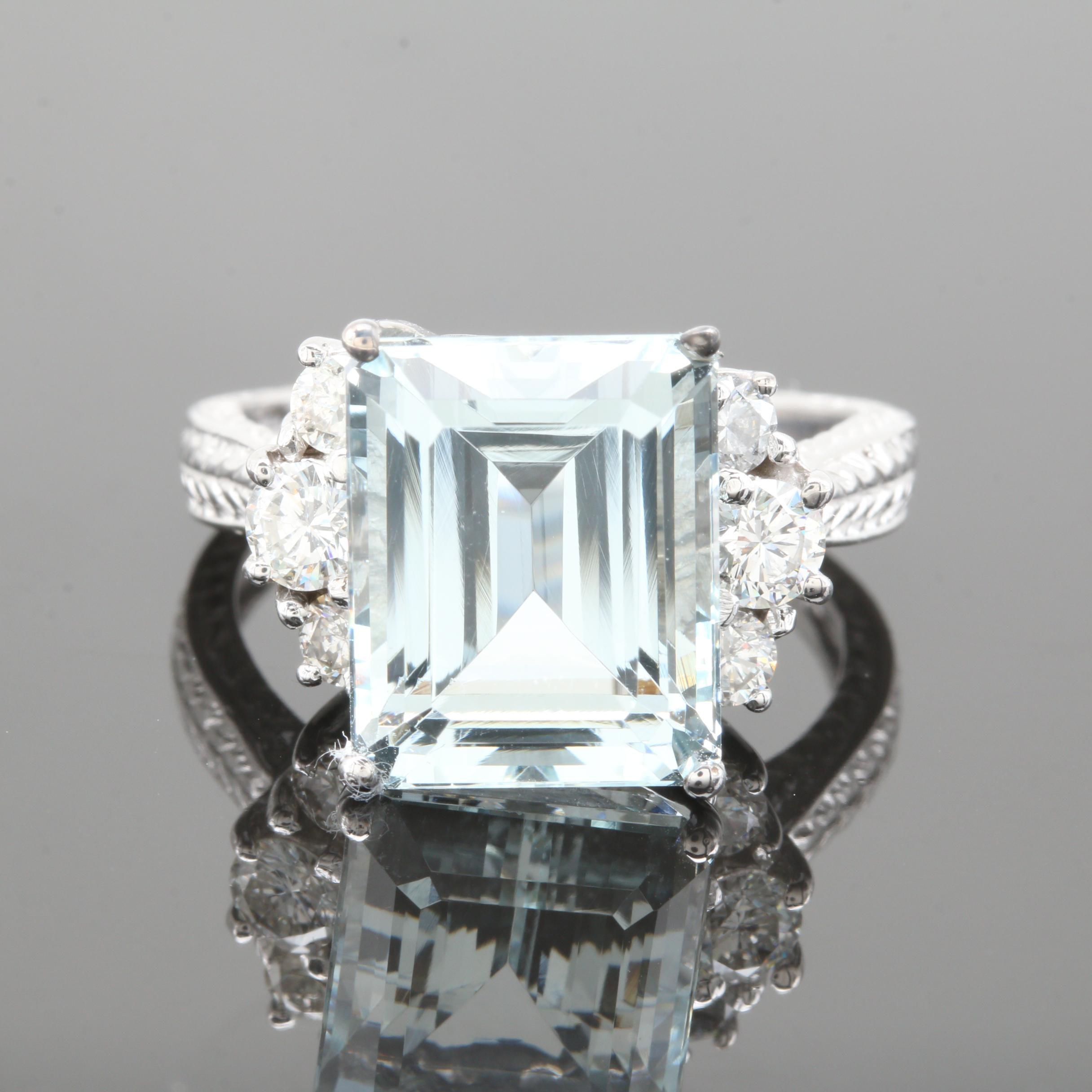 14K White Gold 6.33 CT Aquamarine and Diamond Ring