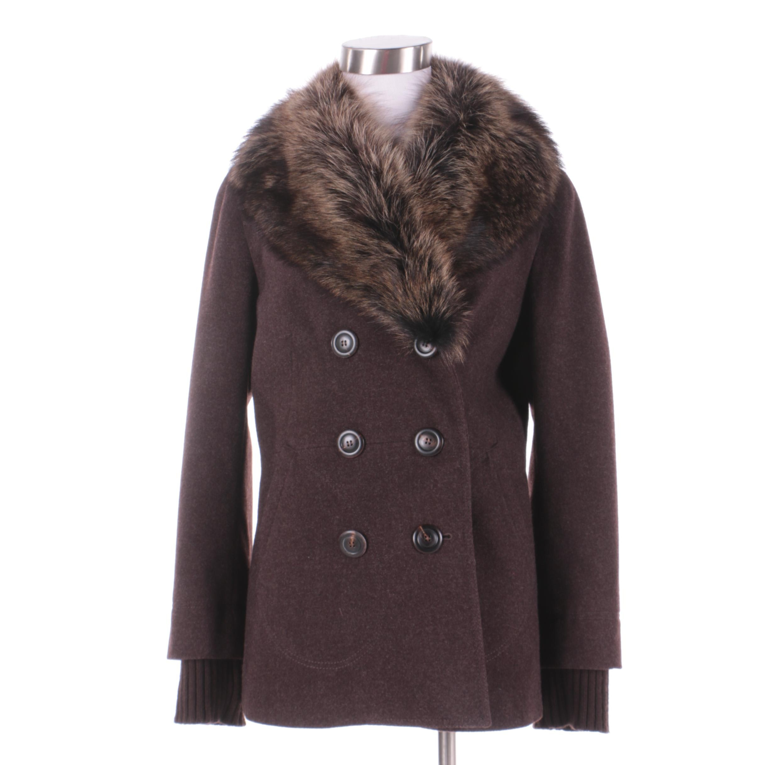 Women's Luciano Barbera Brown Wool Double-Breasted Coat with Raccoon Fur Collar