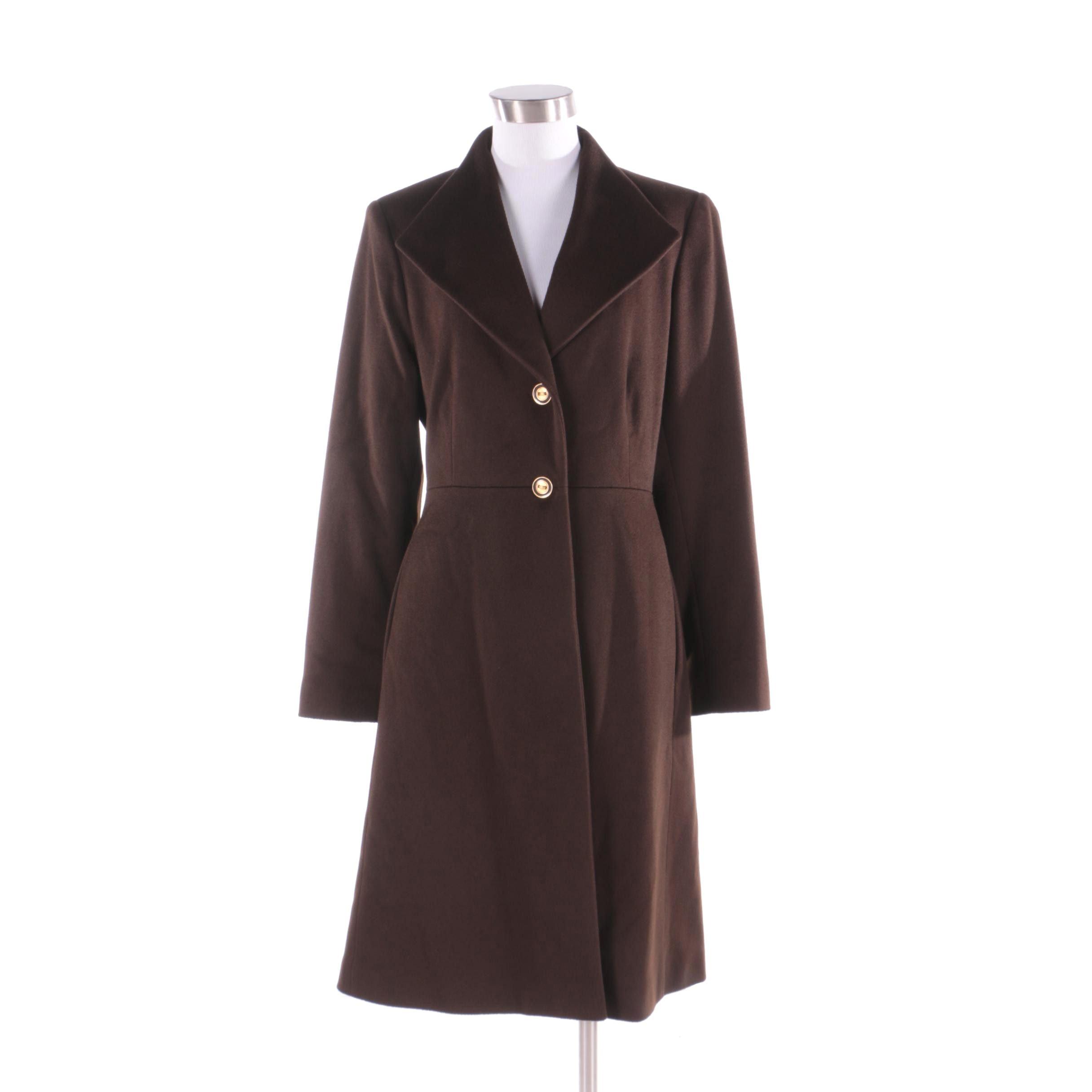 St. John Coats Brown Wool Coat