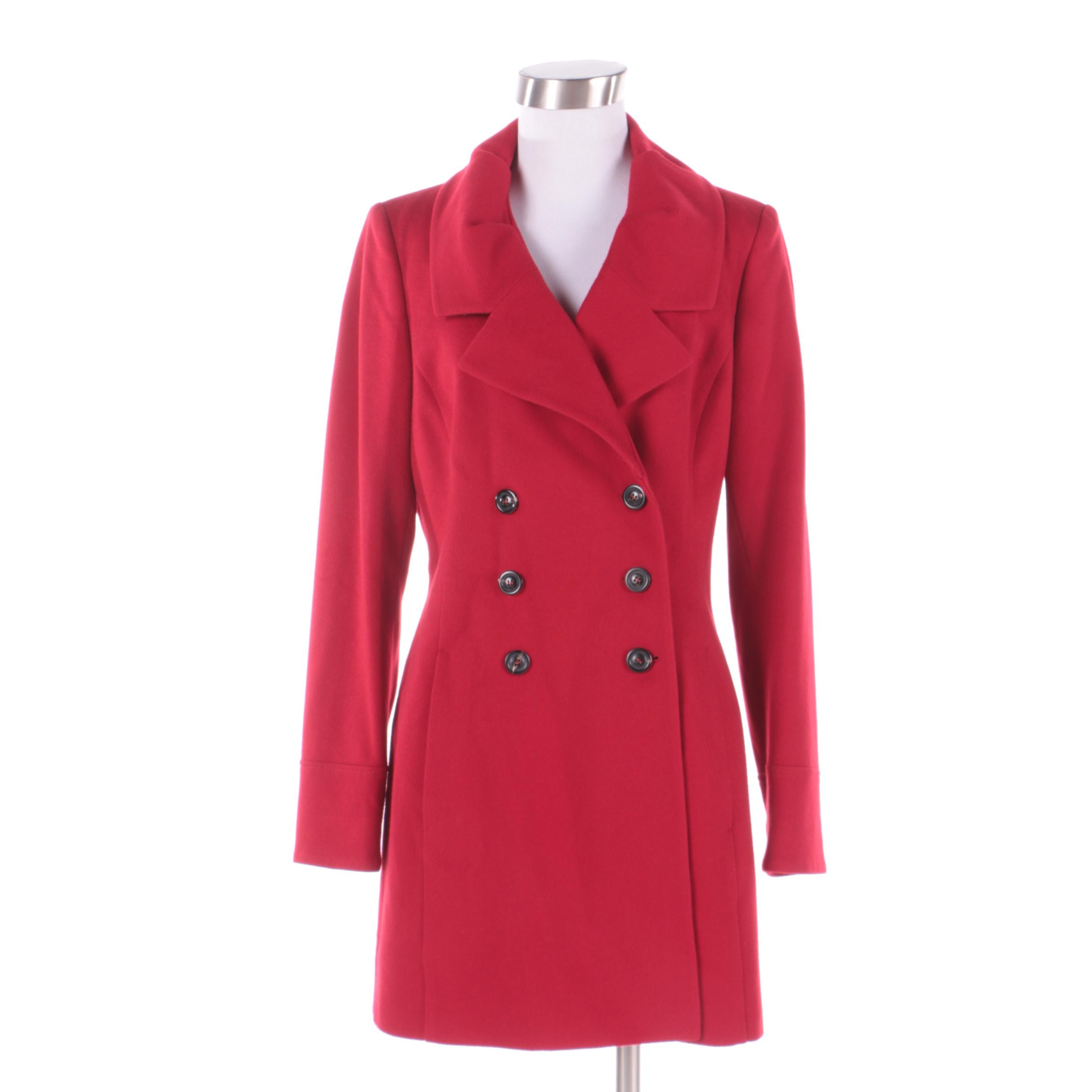 Women's Luciano Barbera Red Cashmere Double-Breasted Jacket