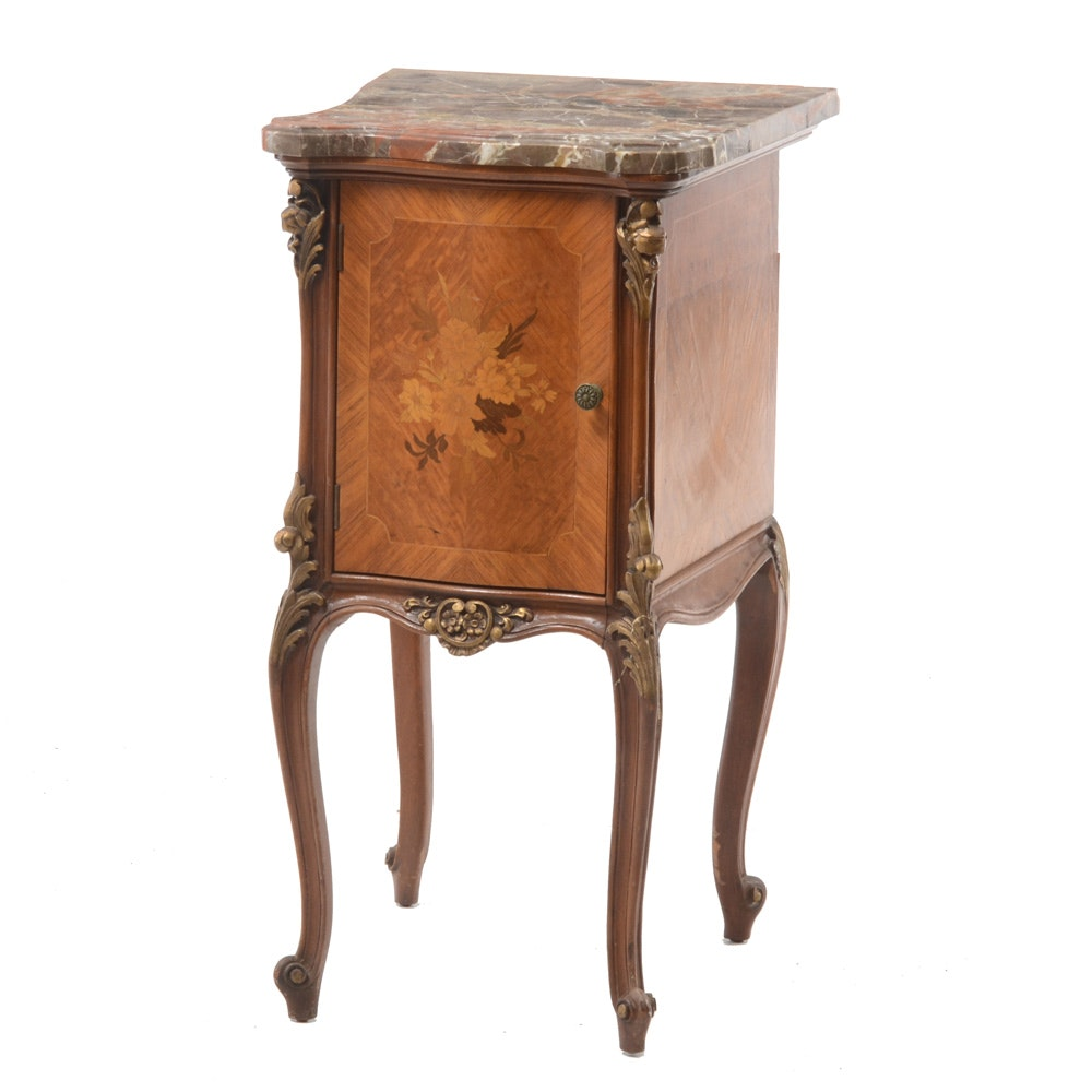 French Louis XV Style Inlaid Satinwood and Marble Nightstand