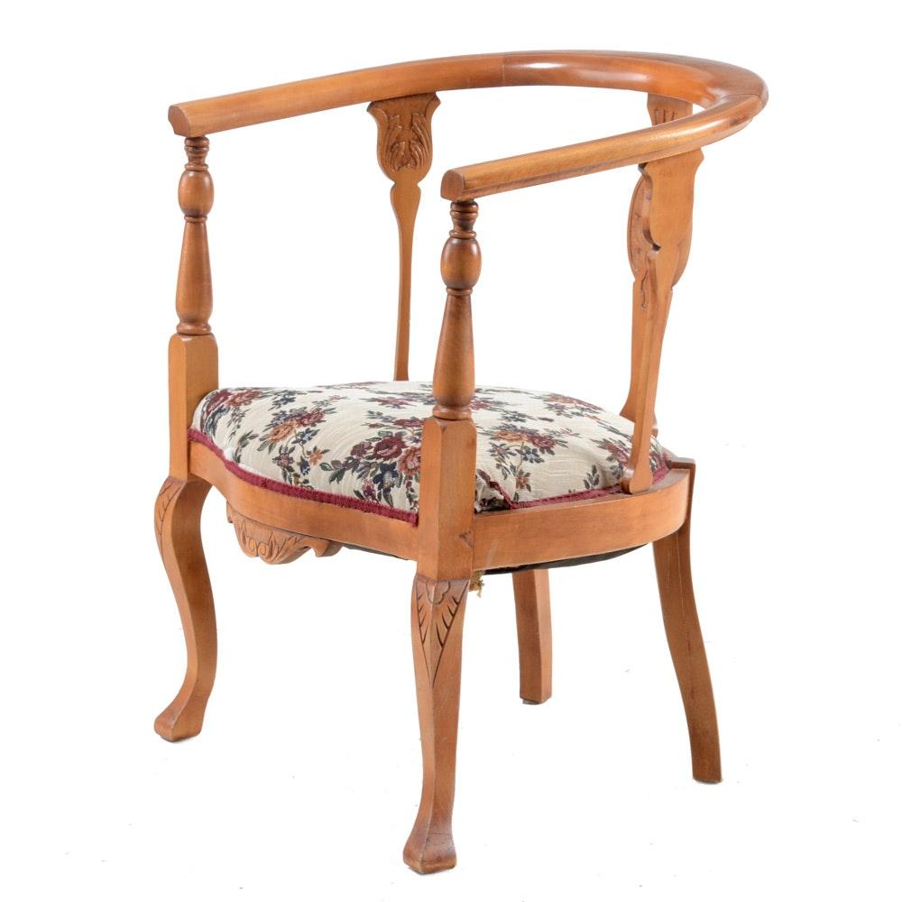 Colonial-Revival Birch Arm Chair