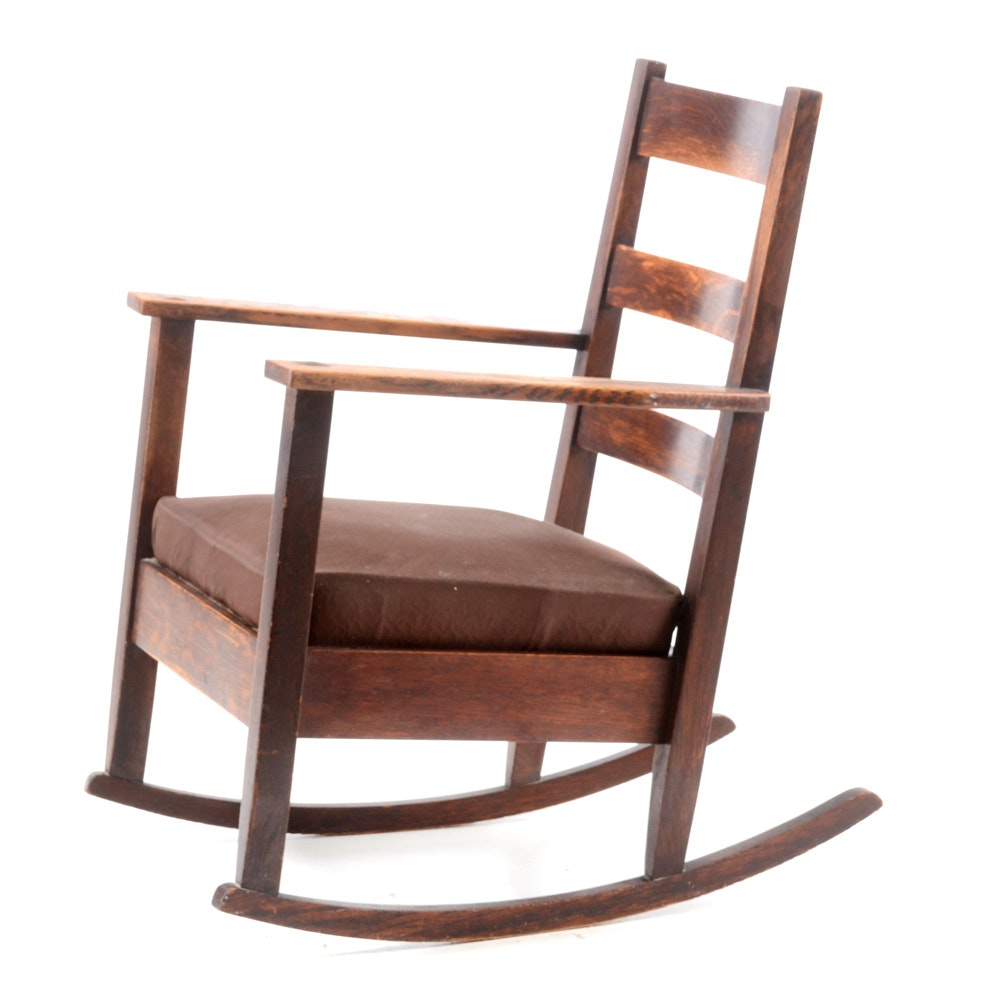 Antique Mission Oak Rocking Chair ...  sc 1 st  EBTH.com & Antique Mission Oak Rocking Chair : EBTH