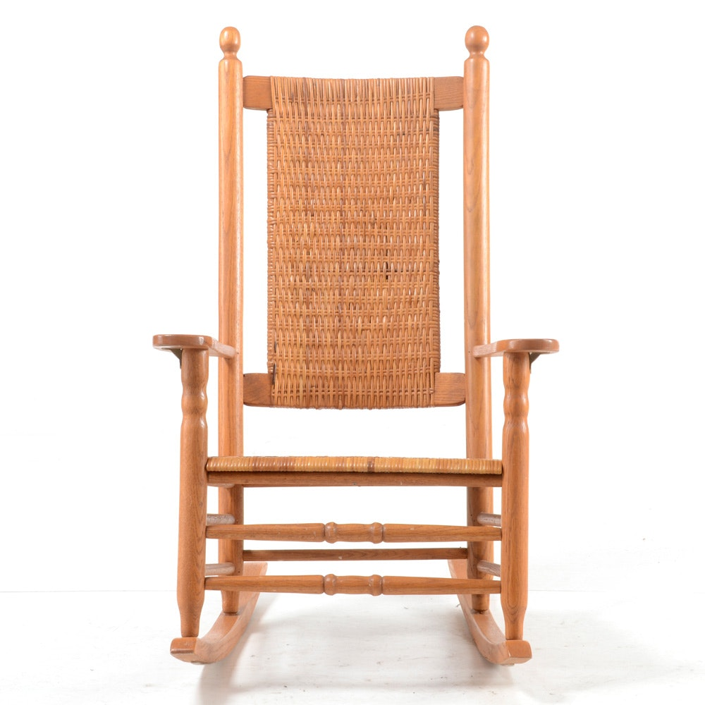 Oak Rocking Chair with Woven Cane