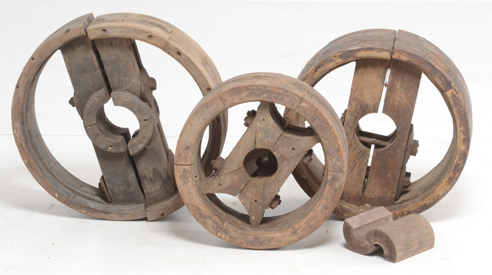 Three Industrial Wooden Molds