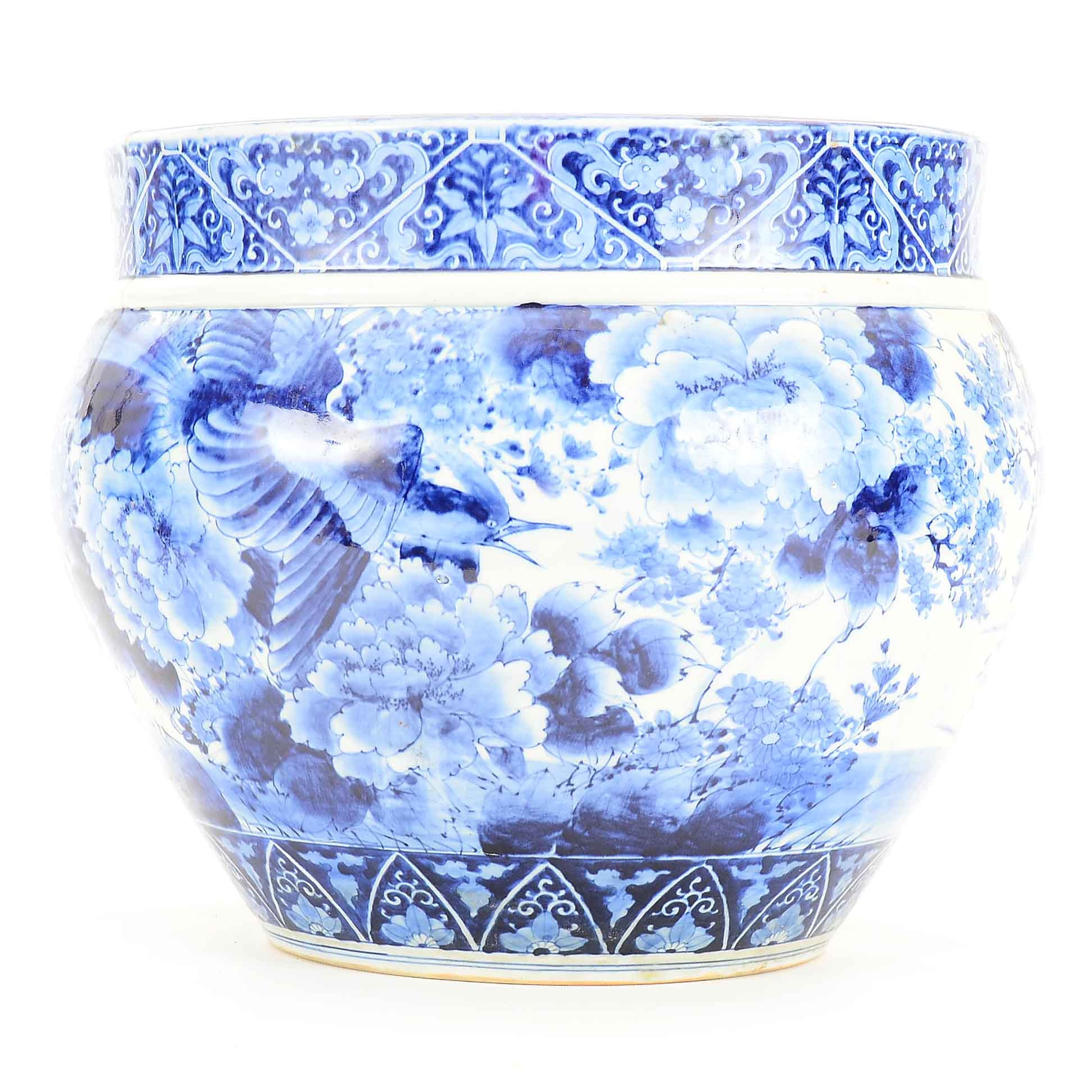Chinese Blue and White Porcelain Fishbowl Planter