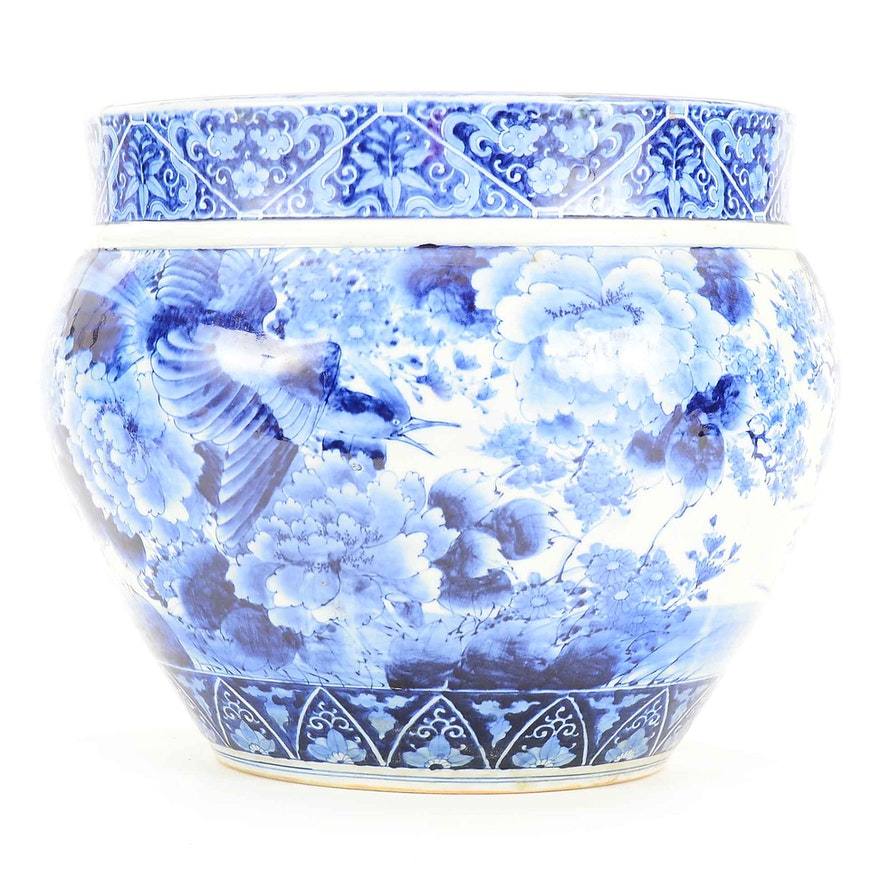 Chinese Blue And White Porcelain Fishbowl Planter Ebth