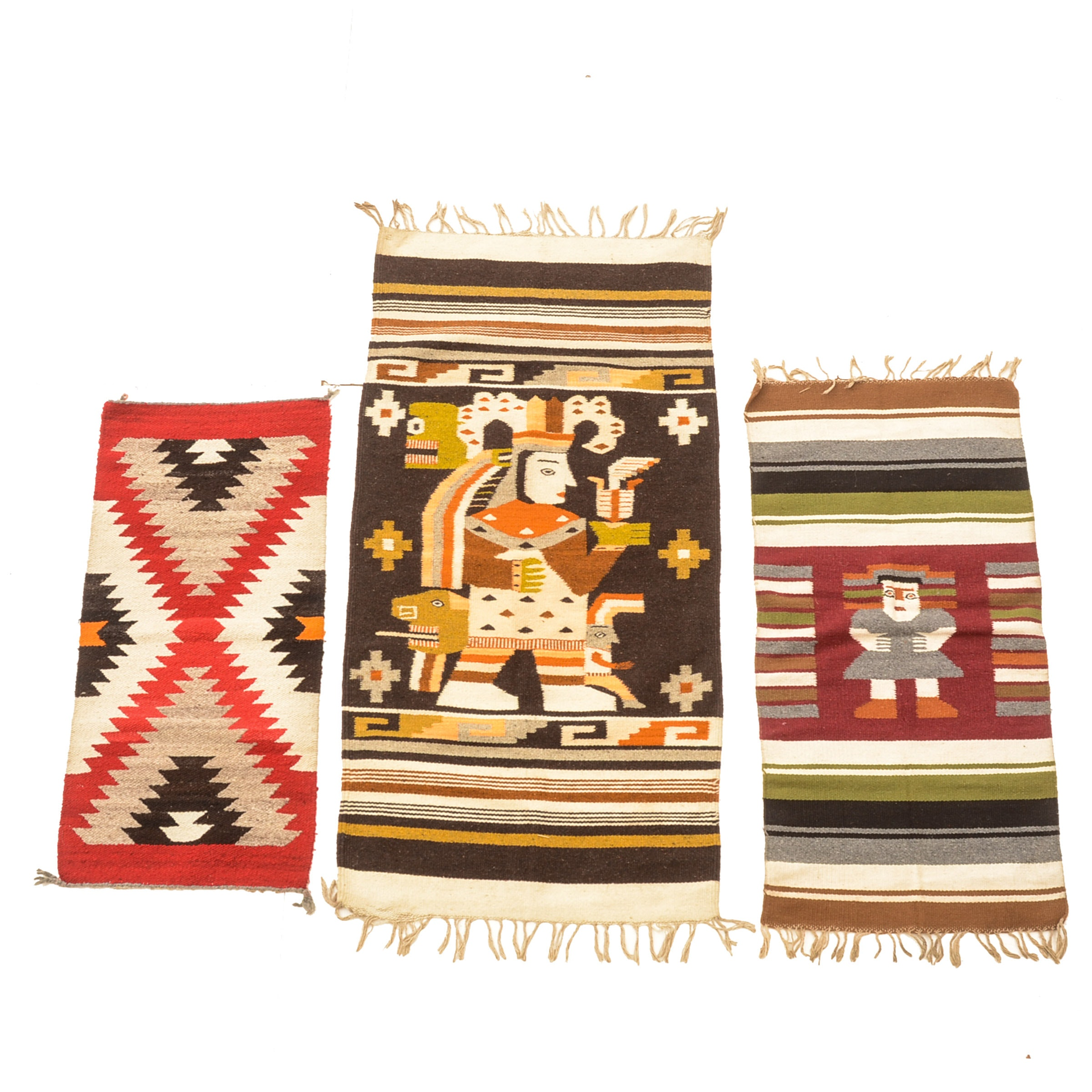 Vintage Handwoven Mexican Wool Rugs