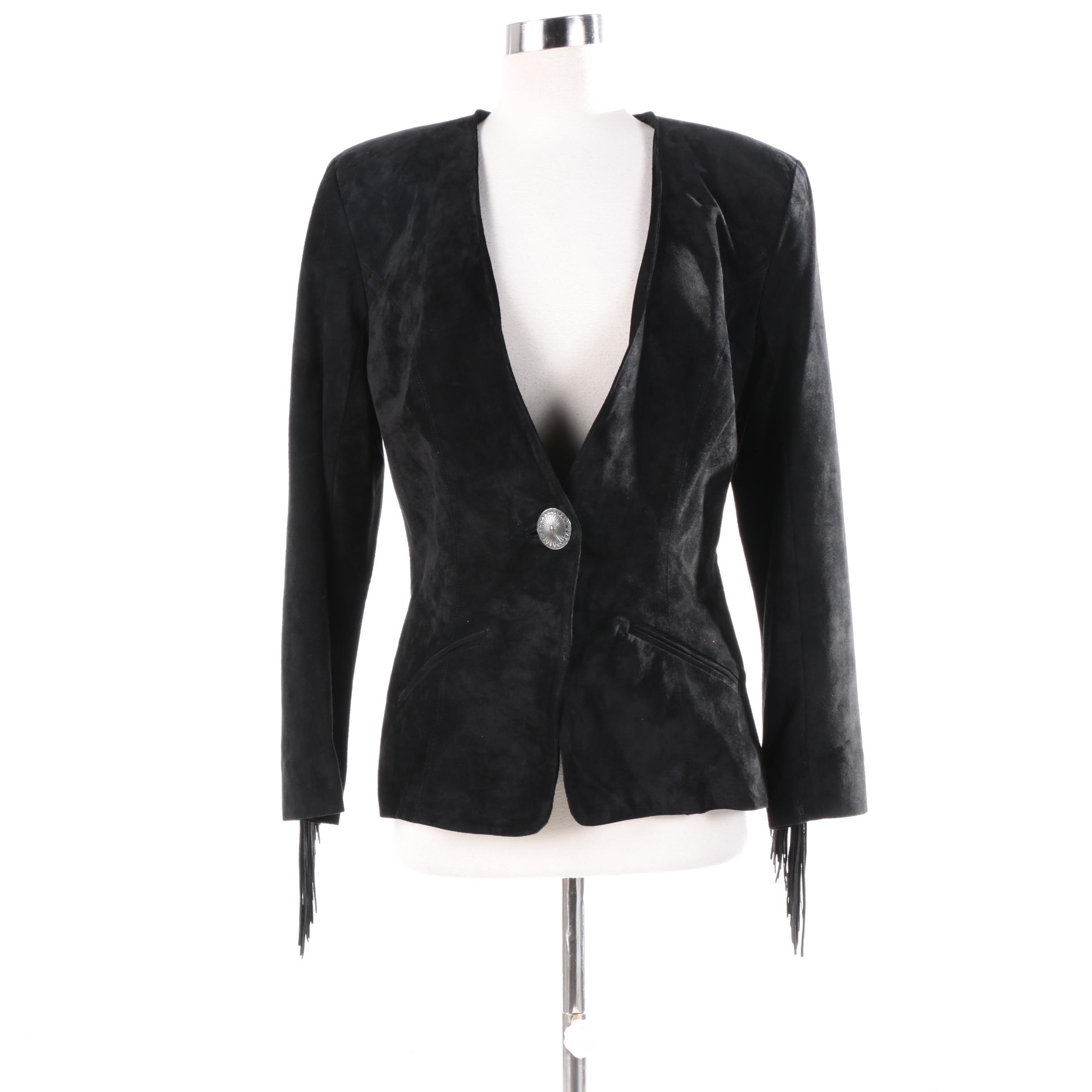 Women's S.H.E. Apparel Black Suede Fringe Jacket