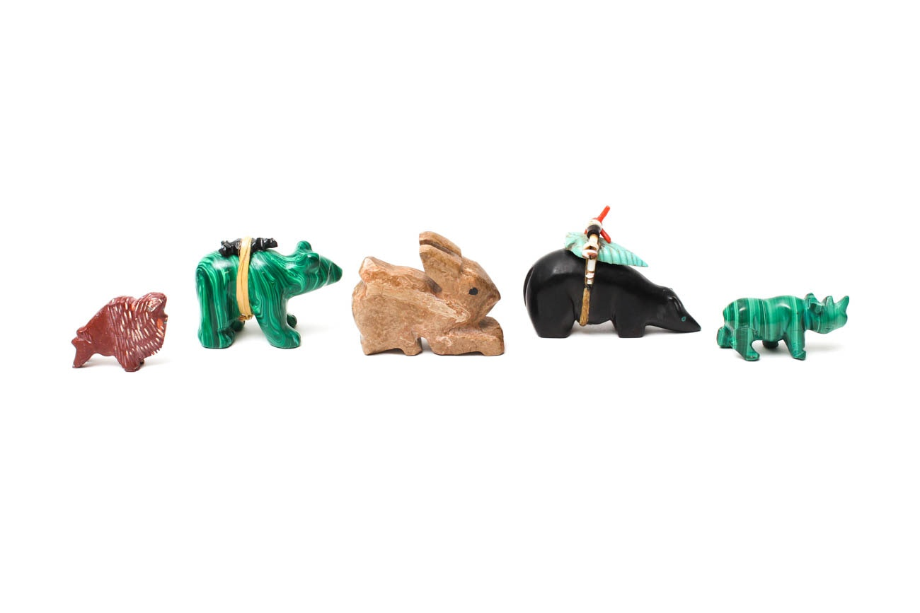 Collection of Fetish Carvings from Malachite, Jasper, and Jet