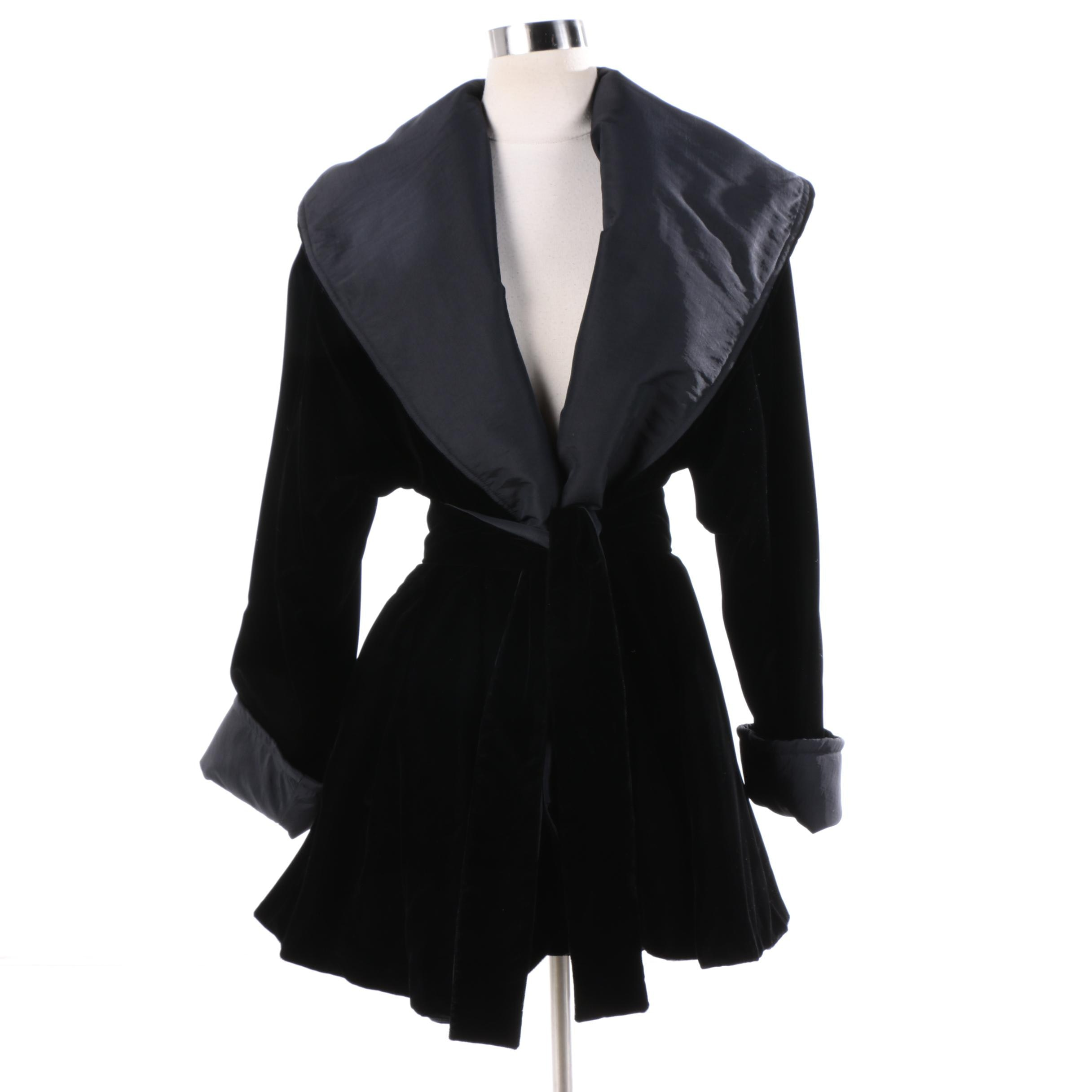 Women's Reversible Black Velvet Jacket with Matching Sash