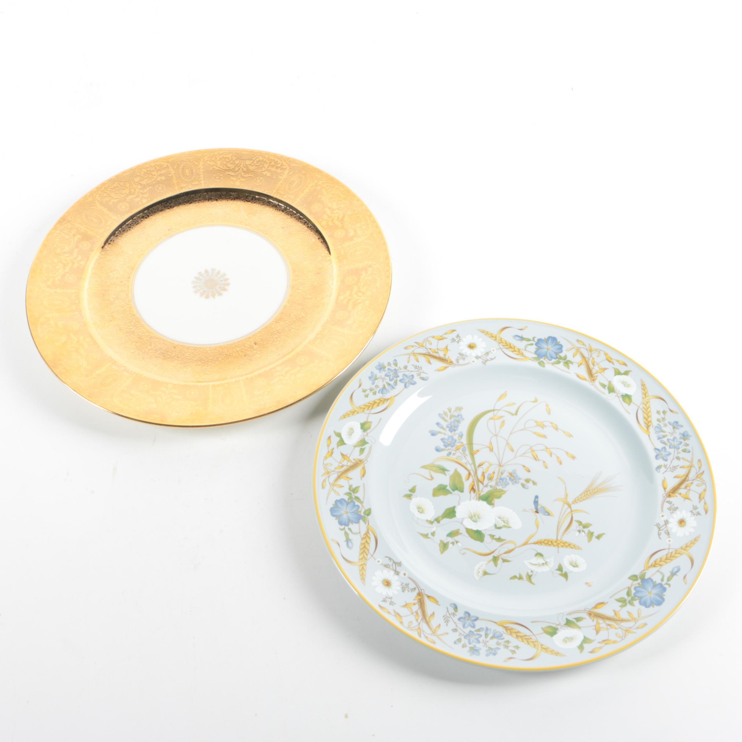 """Vintage Bavarian Gold Encrusted Plate with Spode """"Summer Harvest"""" Dinner Plate"""