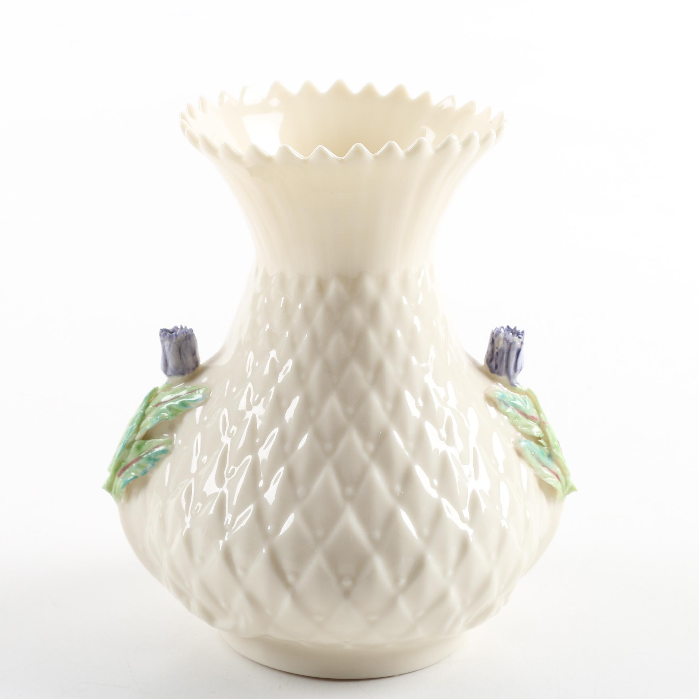 "Belleek ""Thistle"" Porcelain Vase"