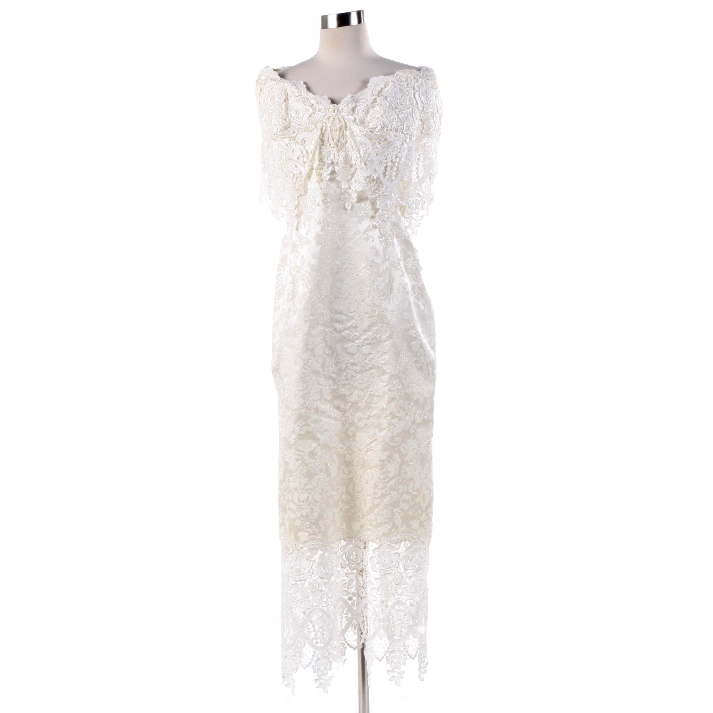 Vintage Jessica McClintock Off-The-Shoulder Brocade and Lace Evening Dress