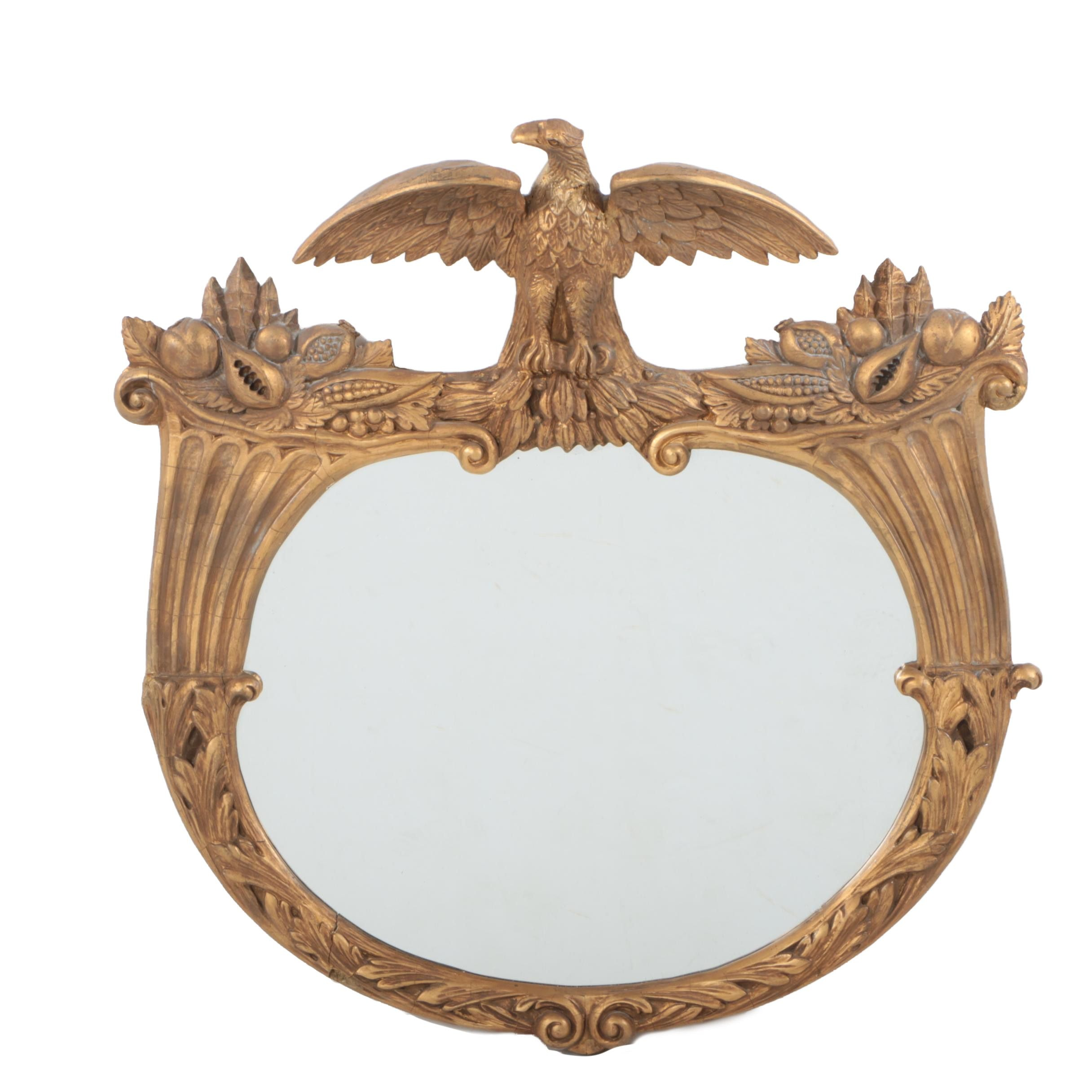 Neoclassical Style Gilded Wall Mirror with Eagle