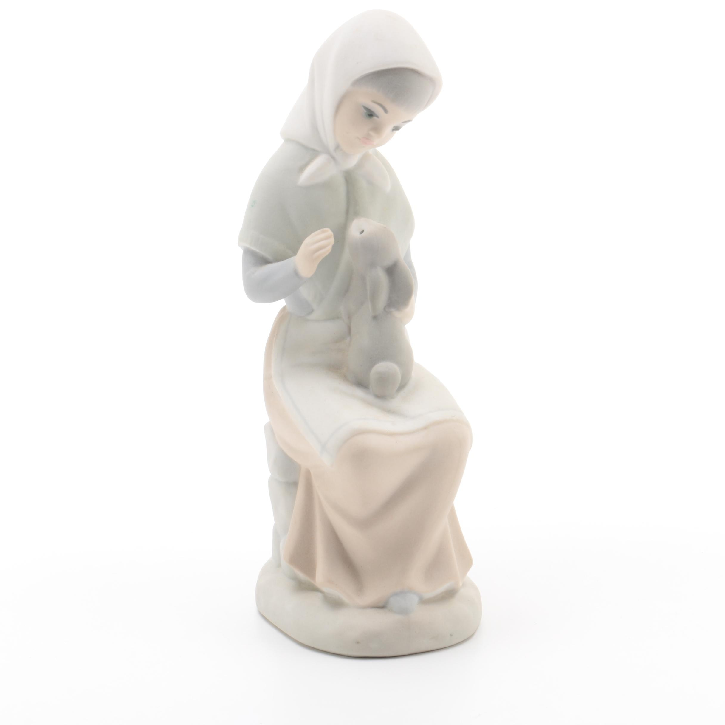 Zaphir Spanish Porcelain Figurine of Seated Girl with Rabbit
