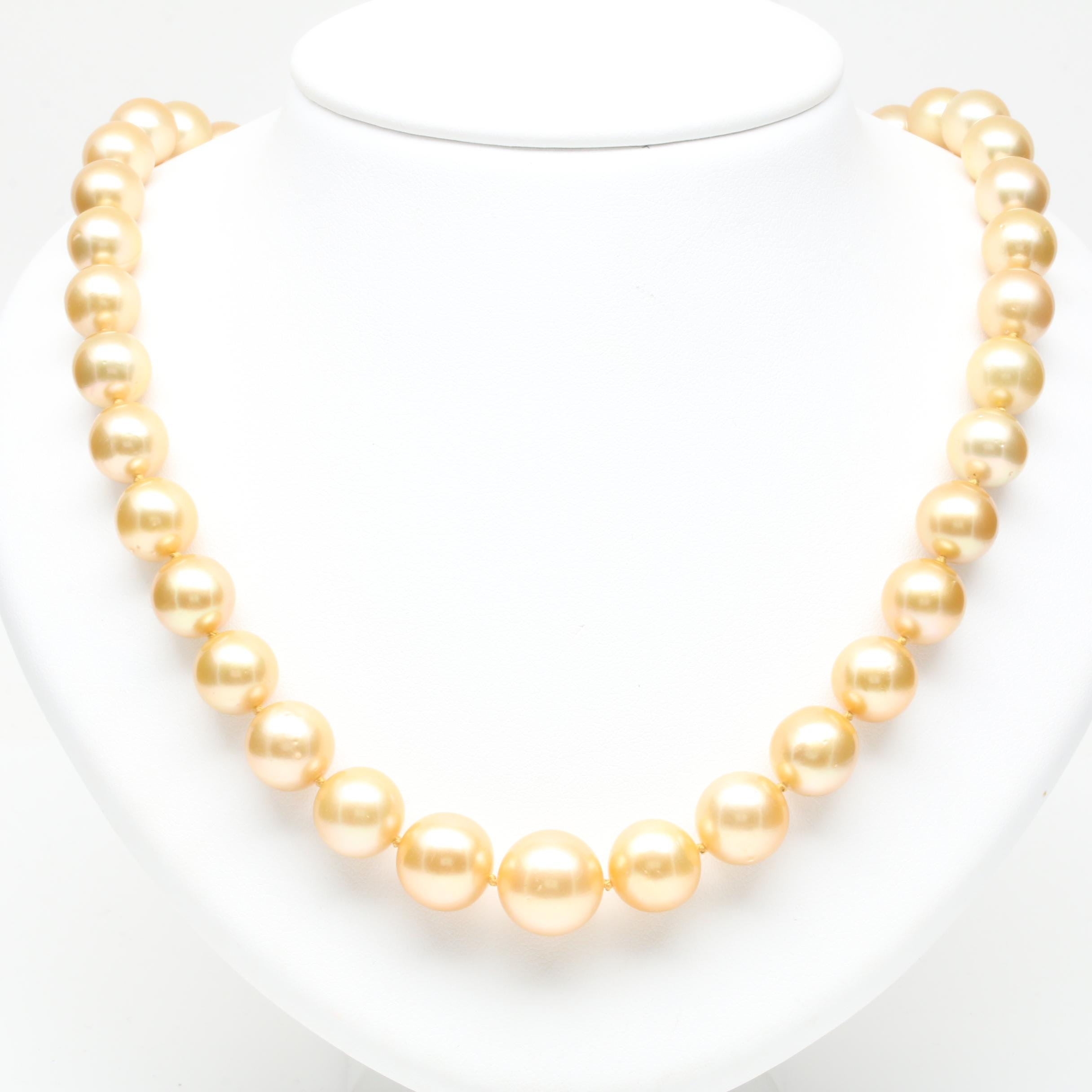 14K Yellow Gold Cultured Golden Pearl and Diamond Necklace