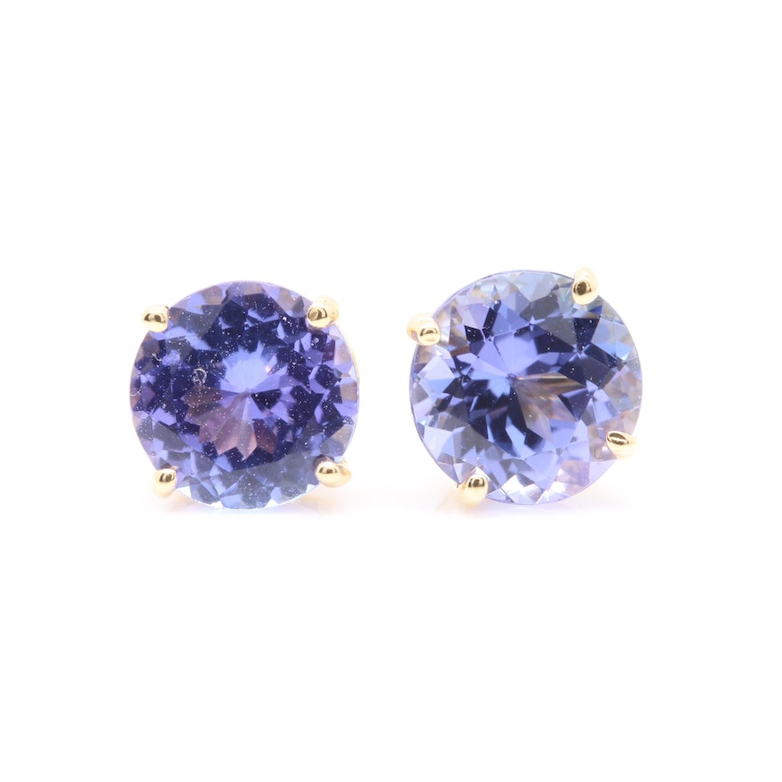 18k Yellow Gold Tanzanite Stud Earrings
