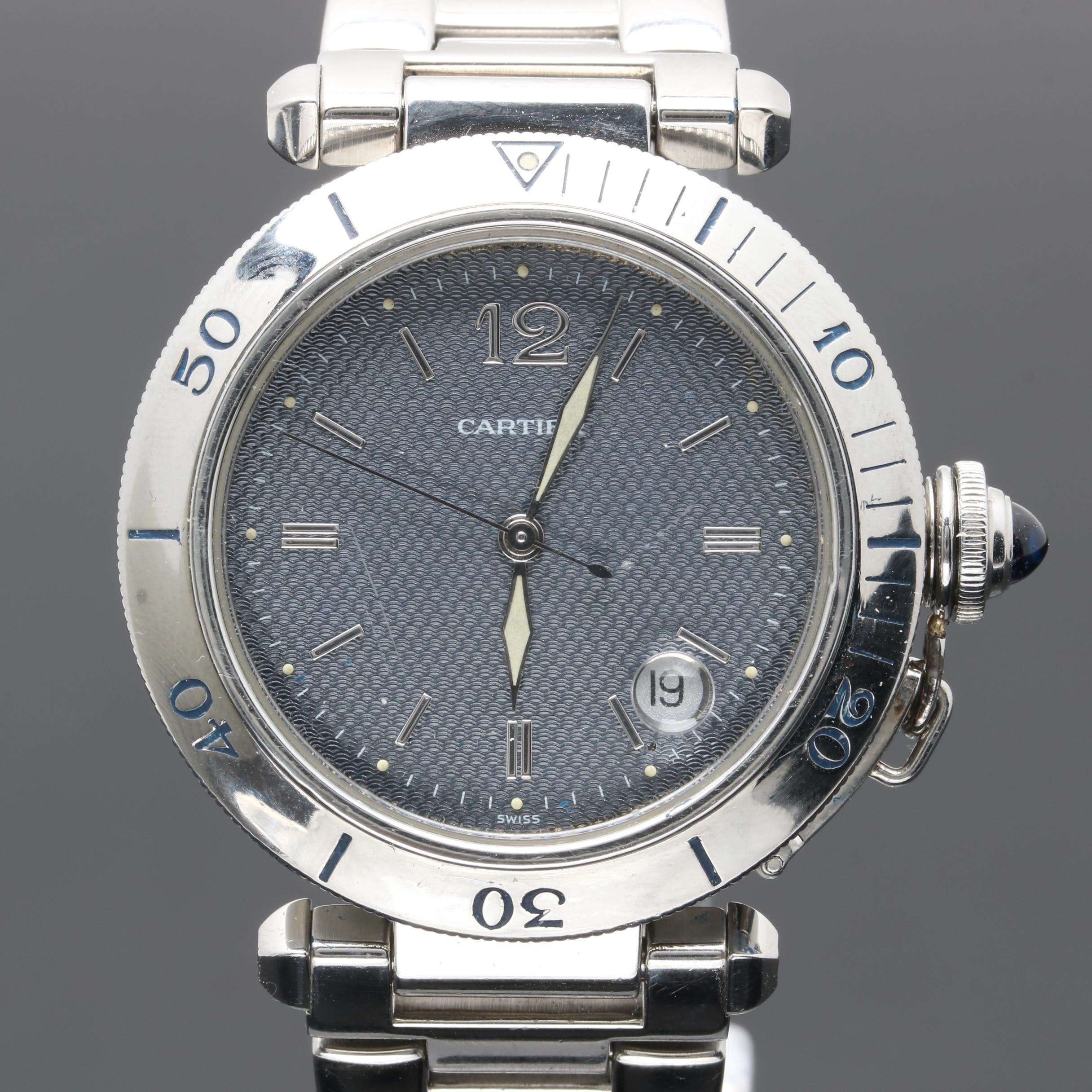 "Cartier ""Pasha"" 1040 Stainless Steel Wristwatch"