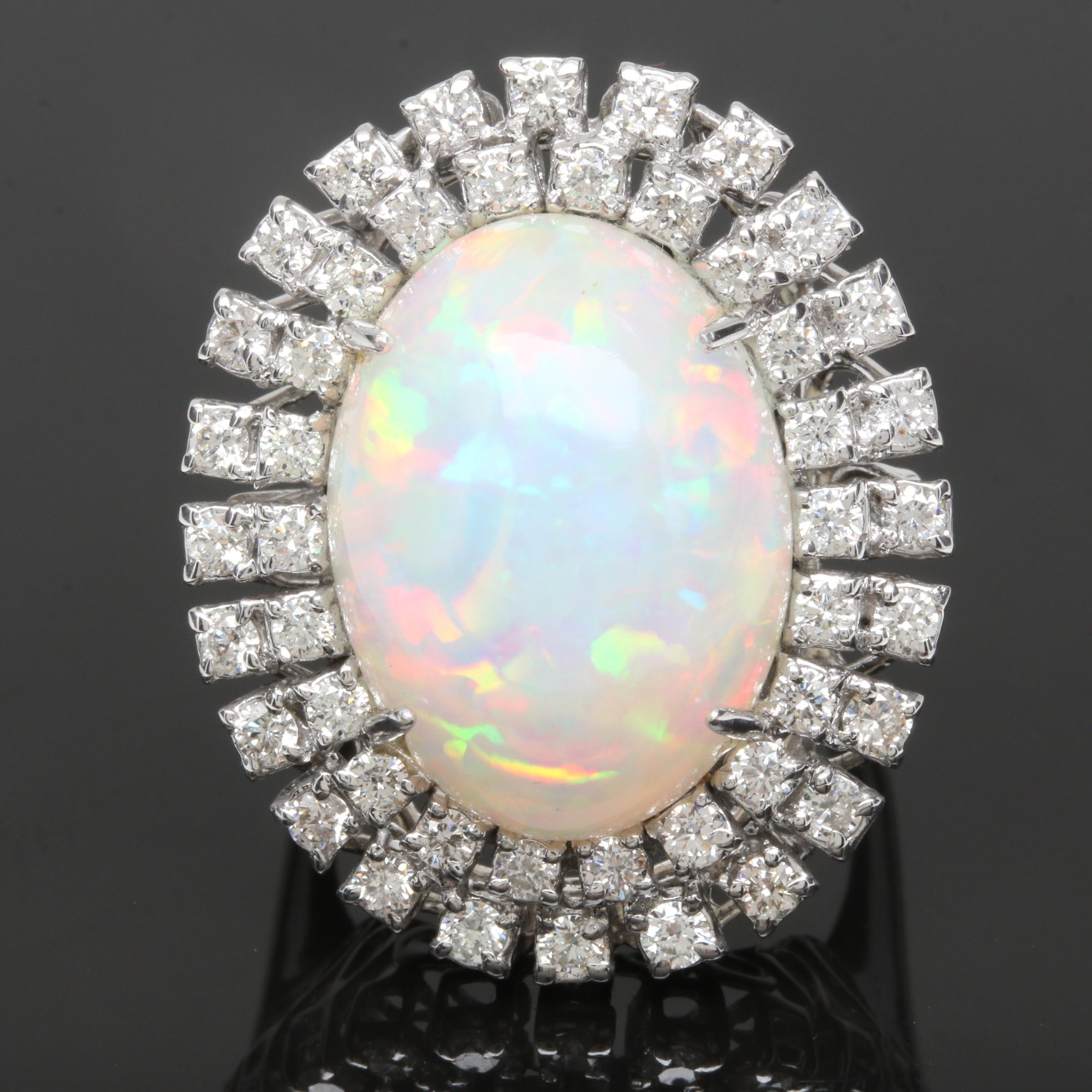 18K White Gold 16.17 CT Opal and 1.51 CTW Diamond Ring