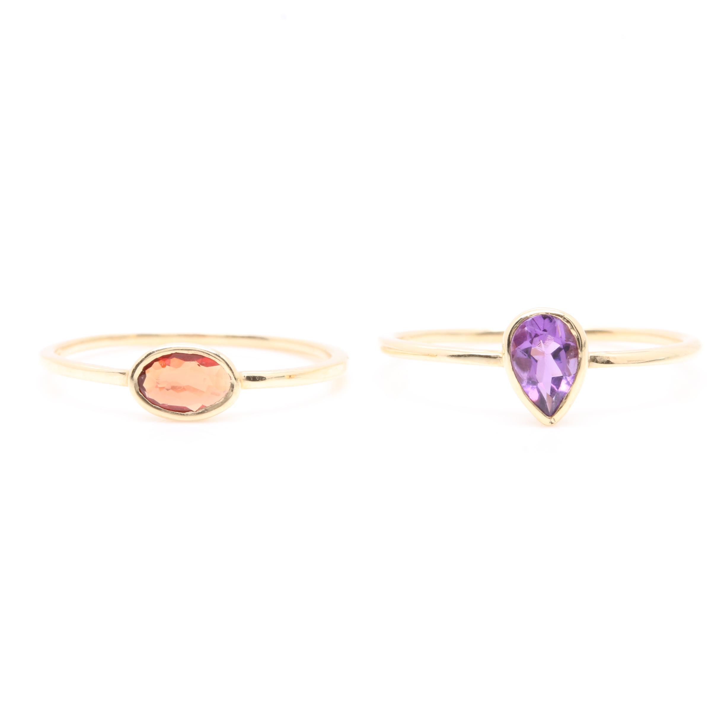 14K Yellow Gold Amethyst and Orange Sapphire Rings