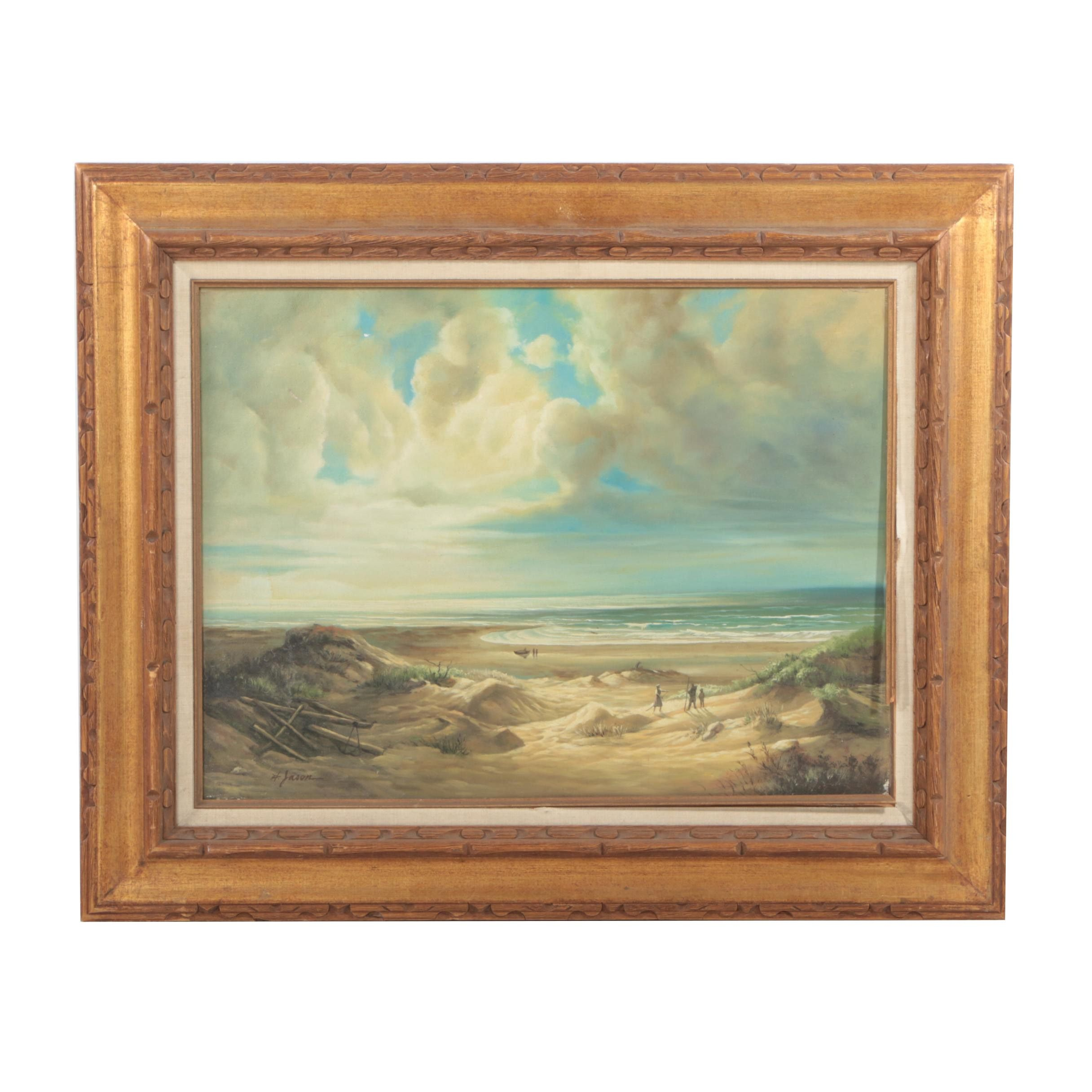 H. Jason Oil on Canvas Landscape of a Beach