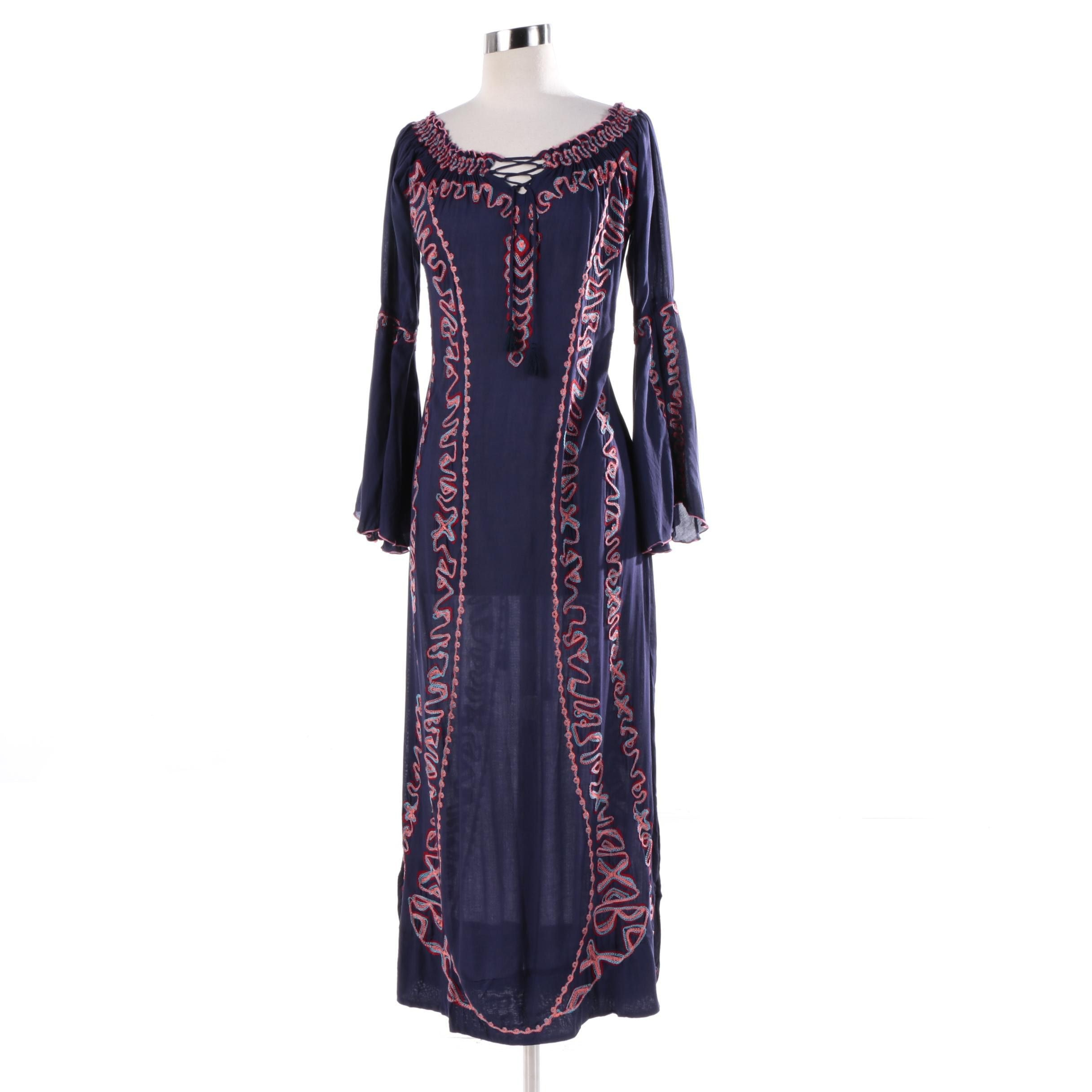 Poupette Embroidered Navy Maxi Dress with Bell Sleeves