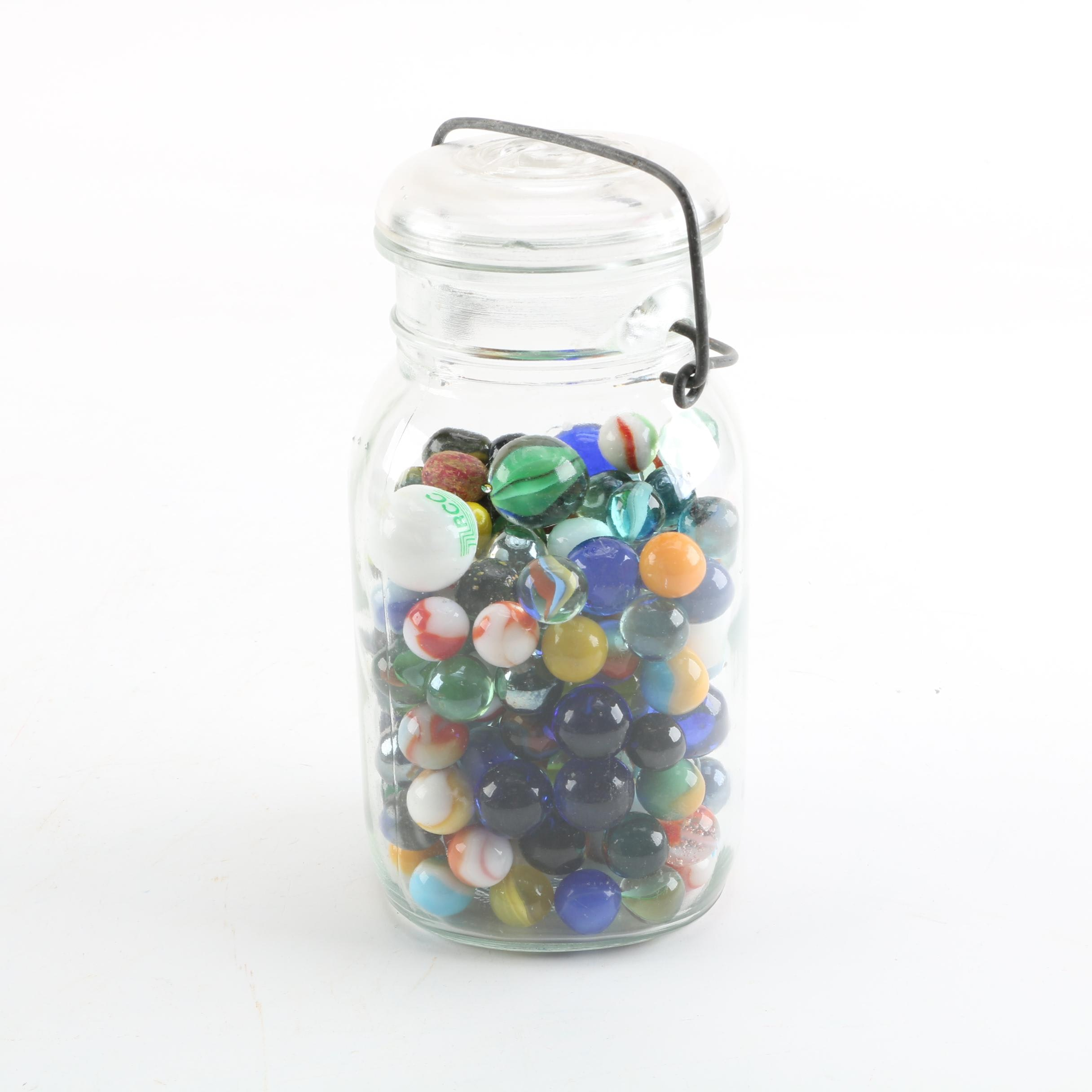 Vintage Ball Jar with Assorted Marbles