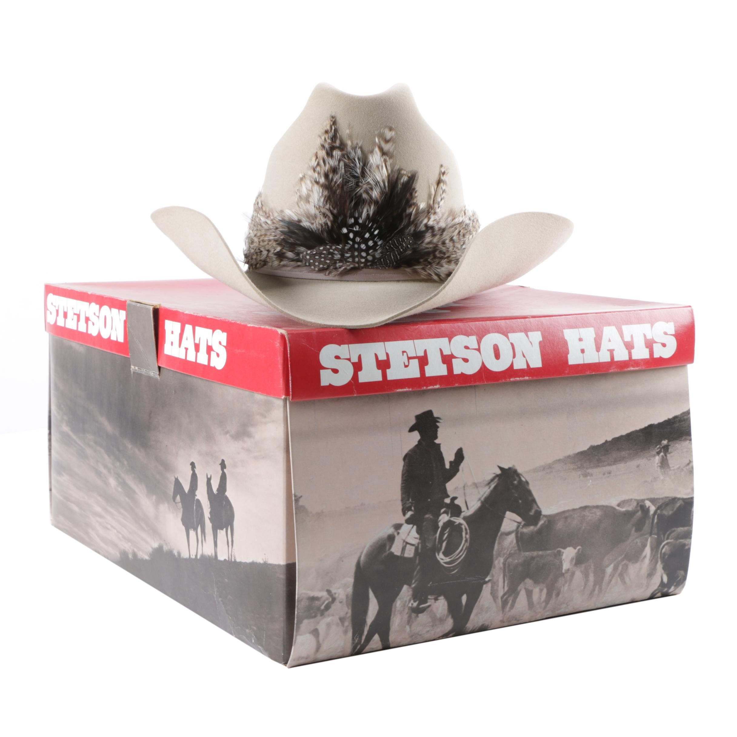 Men's John B. Stetson Felted Beaver Fur Rancher Hat with Pheasant Feathers