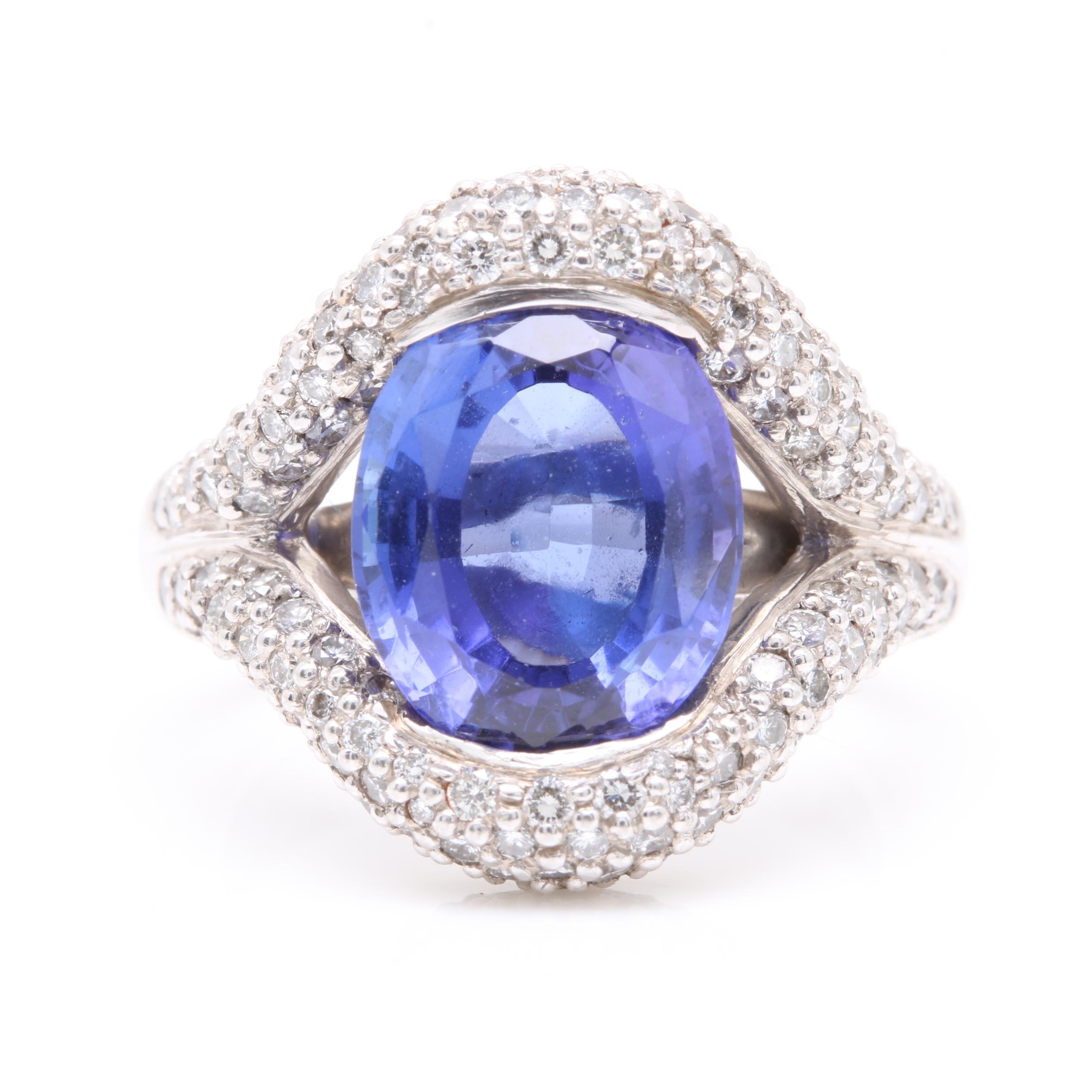 Kabana Platinum 10.57 CT Tanzanite and 1.12 CTW Diamond Ring
