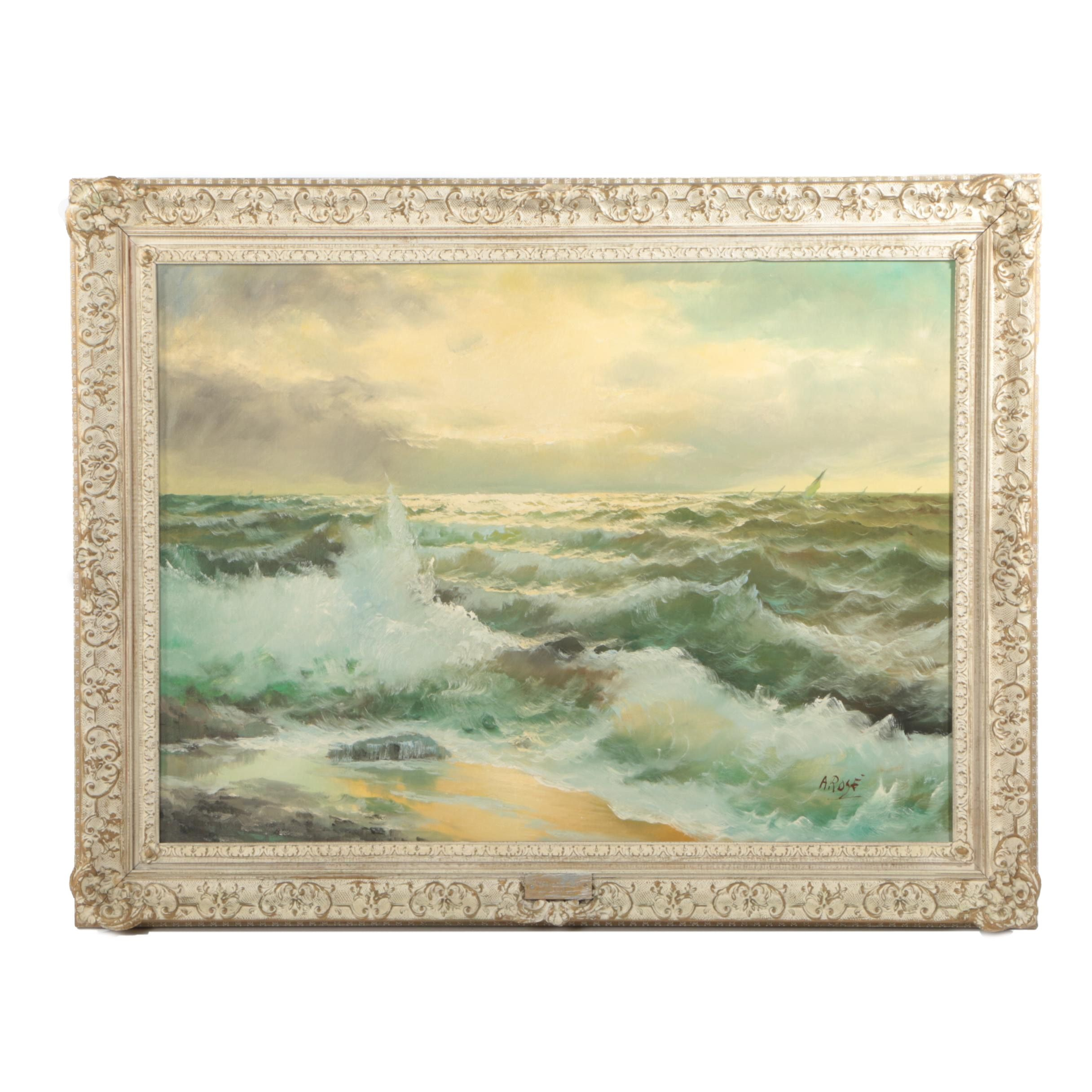 "A. Rosé Oil Painting ""Western Sea"""