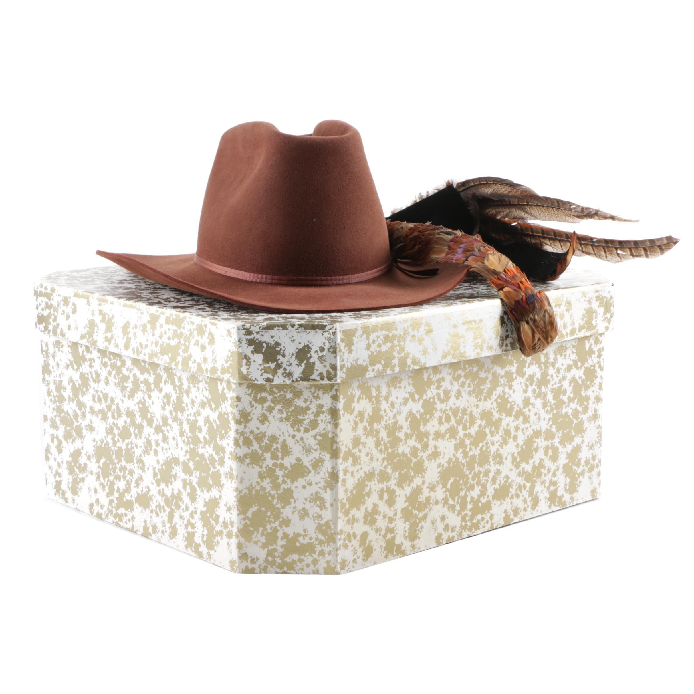 Men's Arizona Sun Bespoke Felted Western Hat with Pheasant Feather Hatband