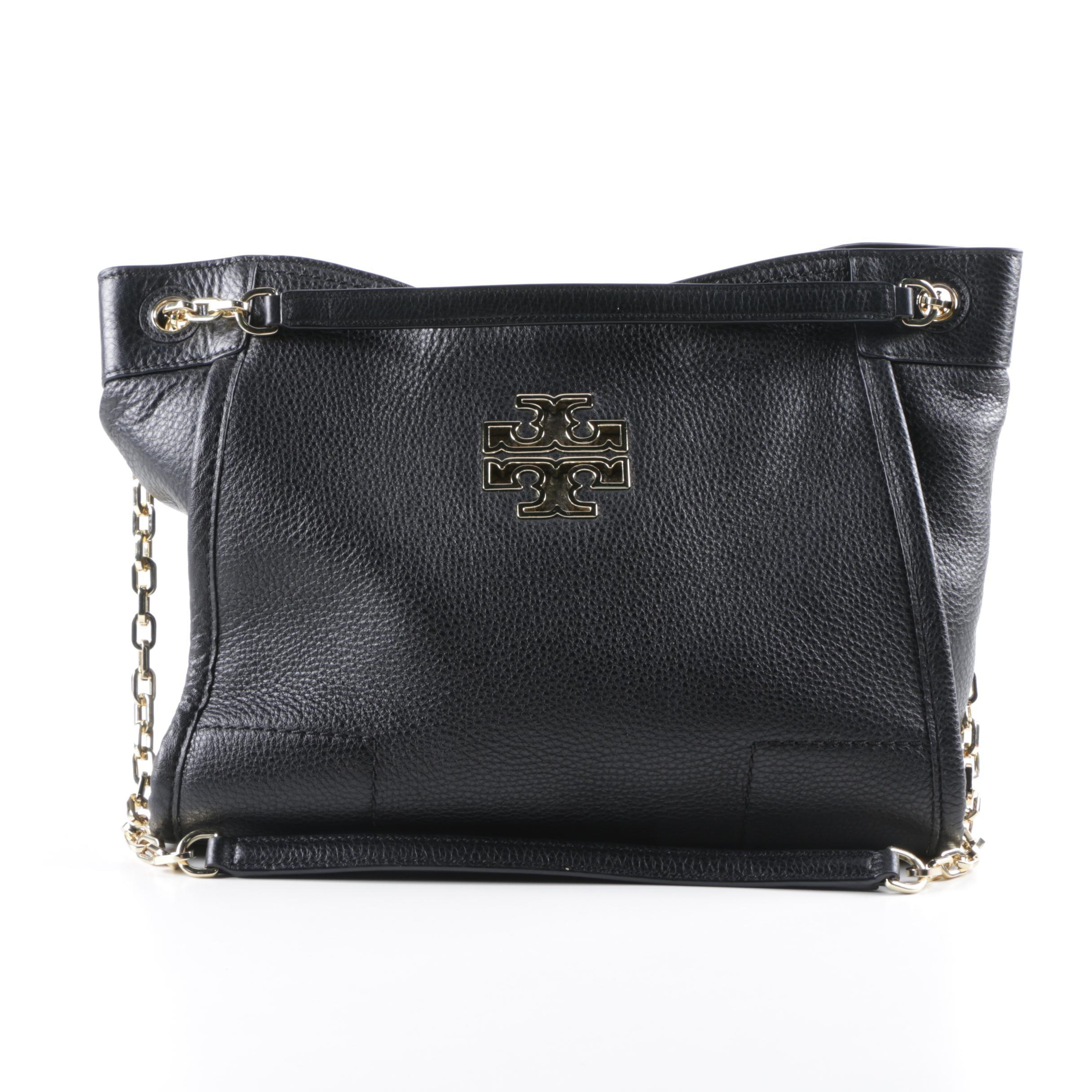Tory Burch Black Pebbled Leather Shoulder Bag