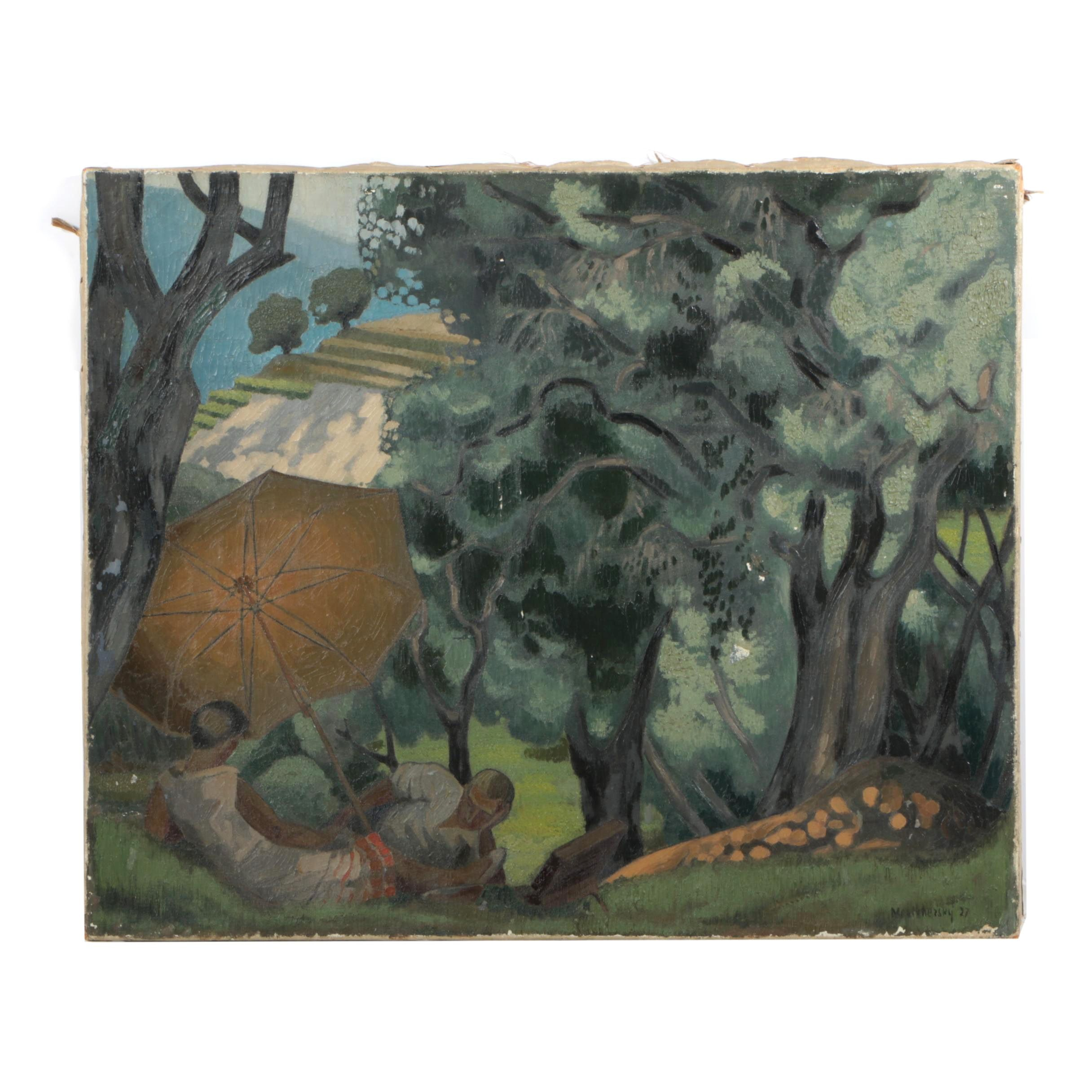Mestchezsky 1927 Oil Painting of a Picnic
