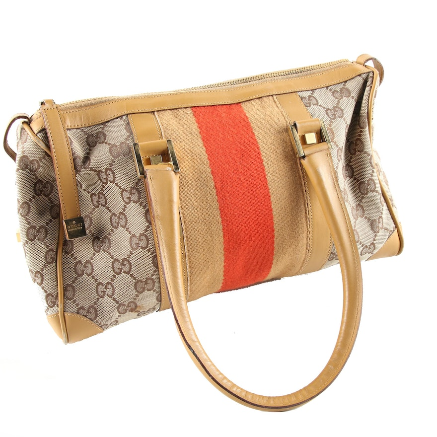 d38f55b9a0bc Gucci GG Canvas and Leather Duffel