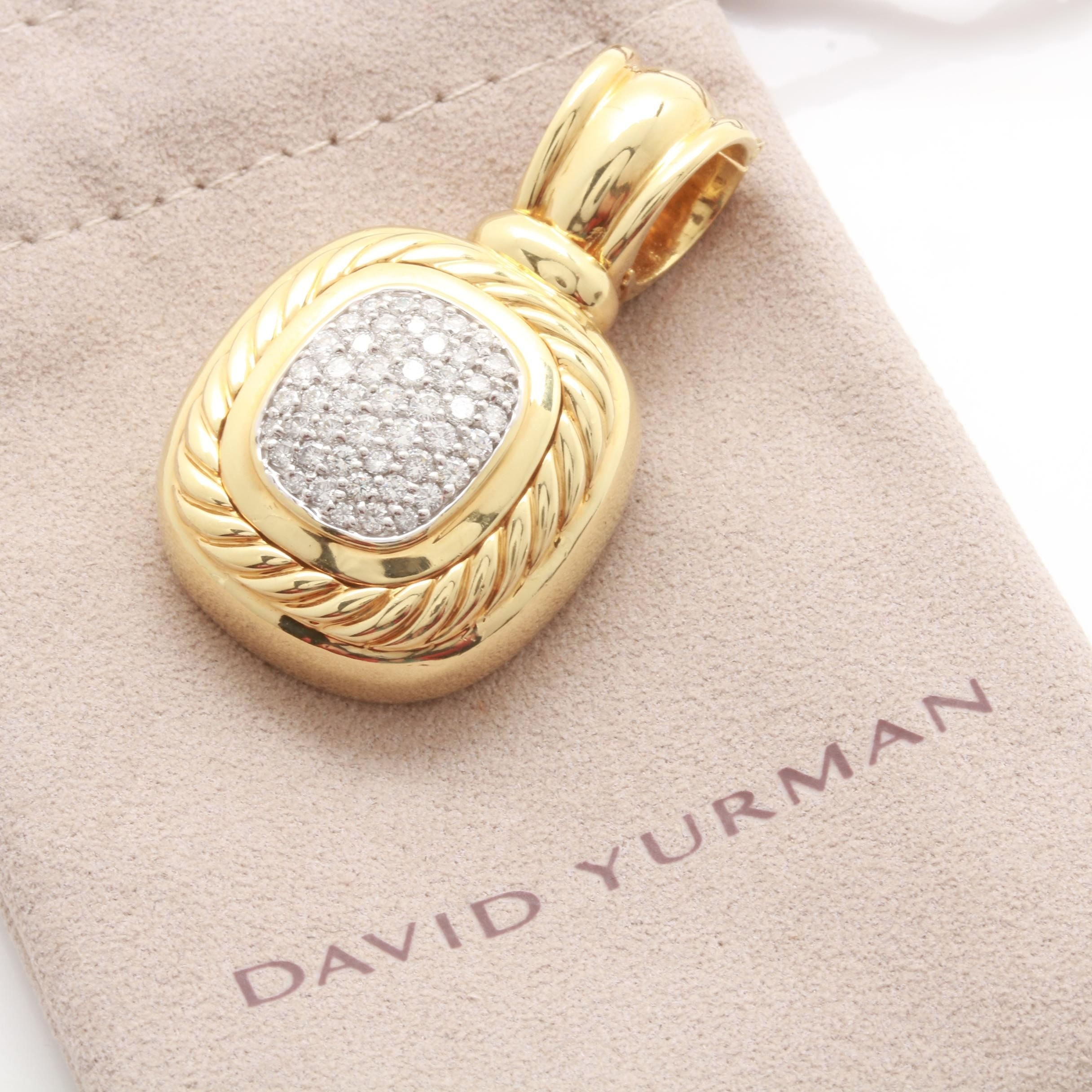 David Yurman 18K Yellow Gold 0.90 CTW Diamond Pendant