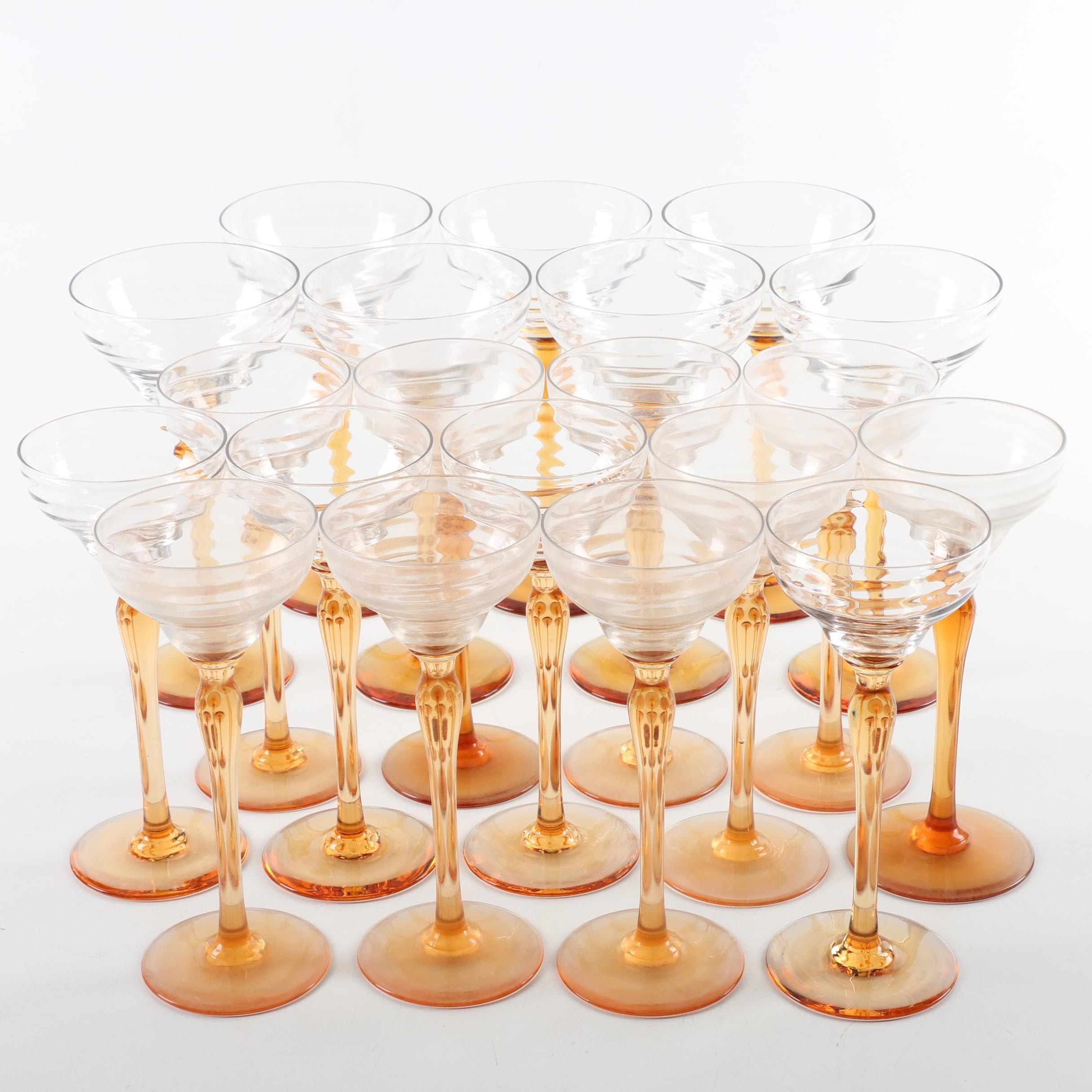 Collection of Mid Century Amber Stemmed Cordial and Coupe Glasses