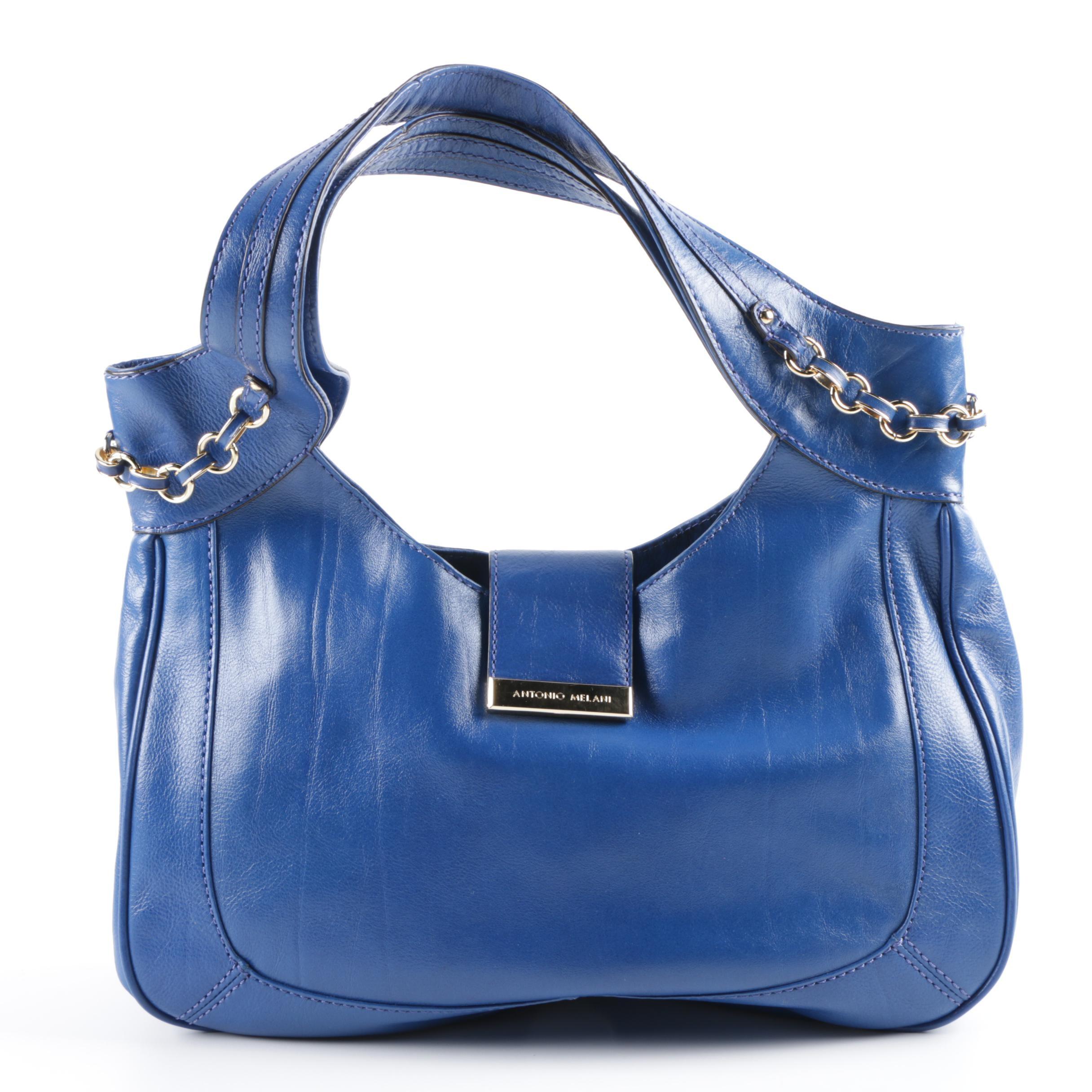 Antonio Melani Blue Faux Leather Shoulder Bag