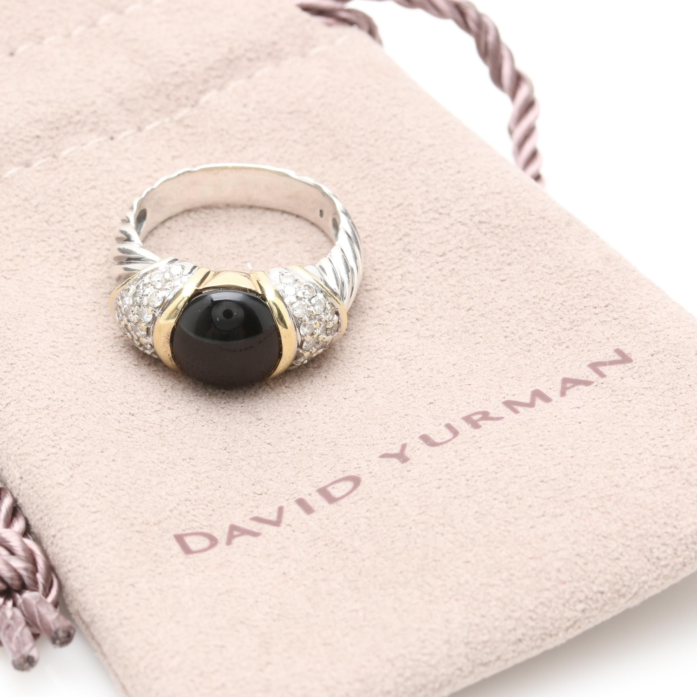 David Yurman Sterling Silver Onyx and Diamond Capri Ring with 18K Accents