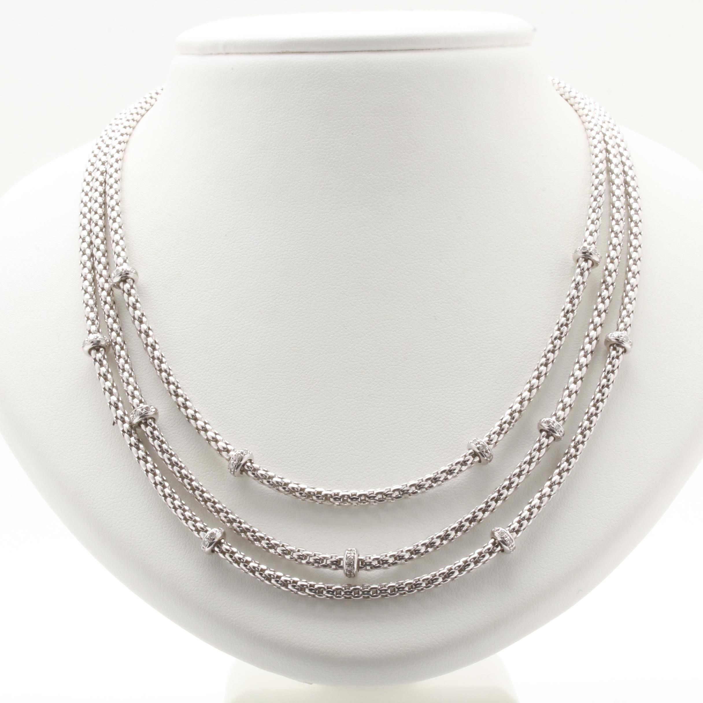 Fope 18K White Gold 1.10 CTW Diamond Three Strand Necklace