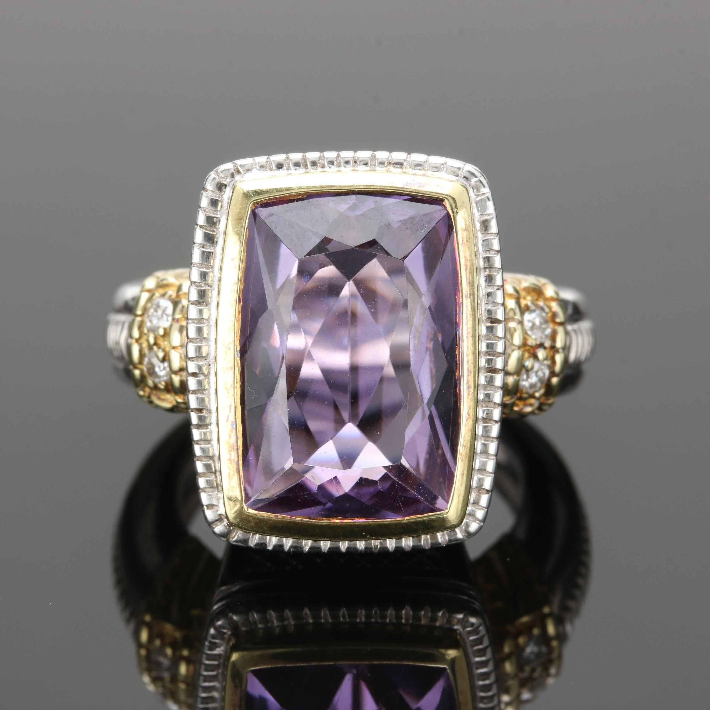 Judith Ripka 18K Yellow Gold and Sterling Silver Amethyst and Diamond Ring