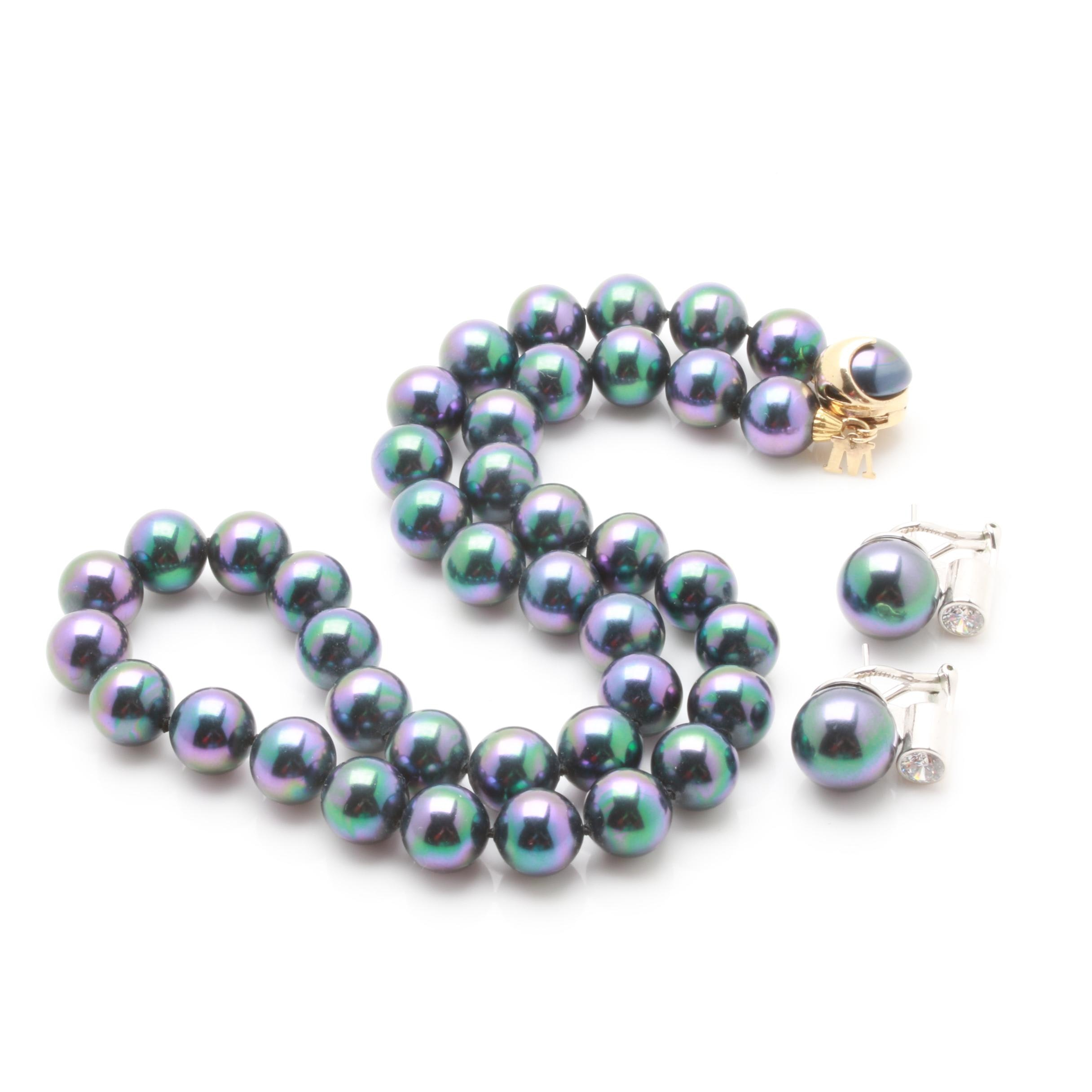 Majorica Pearl Earrings and Sterling Silver Necklace