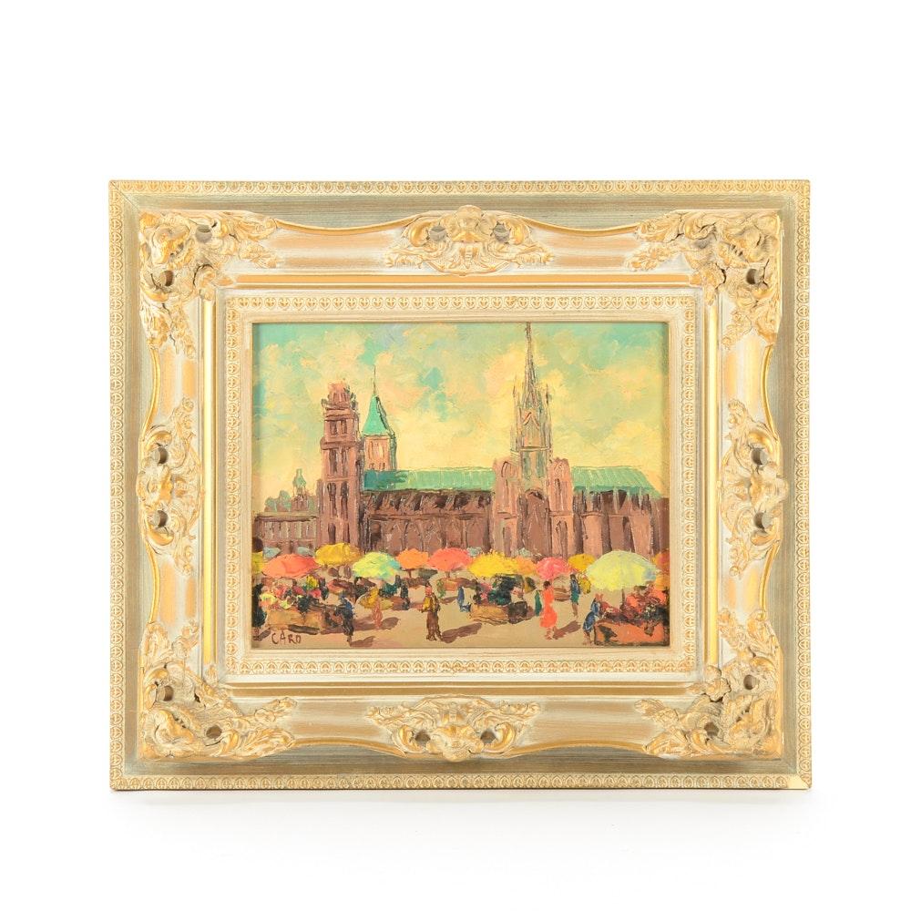 Caro Original VintageOil Painting on Canvasboard