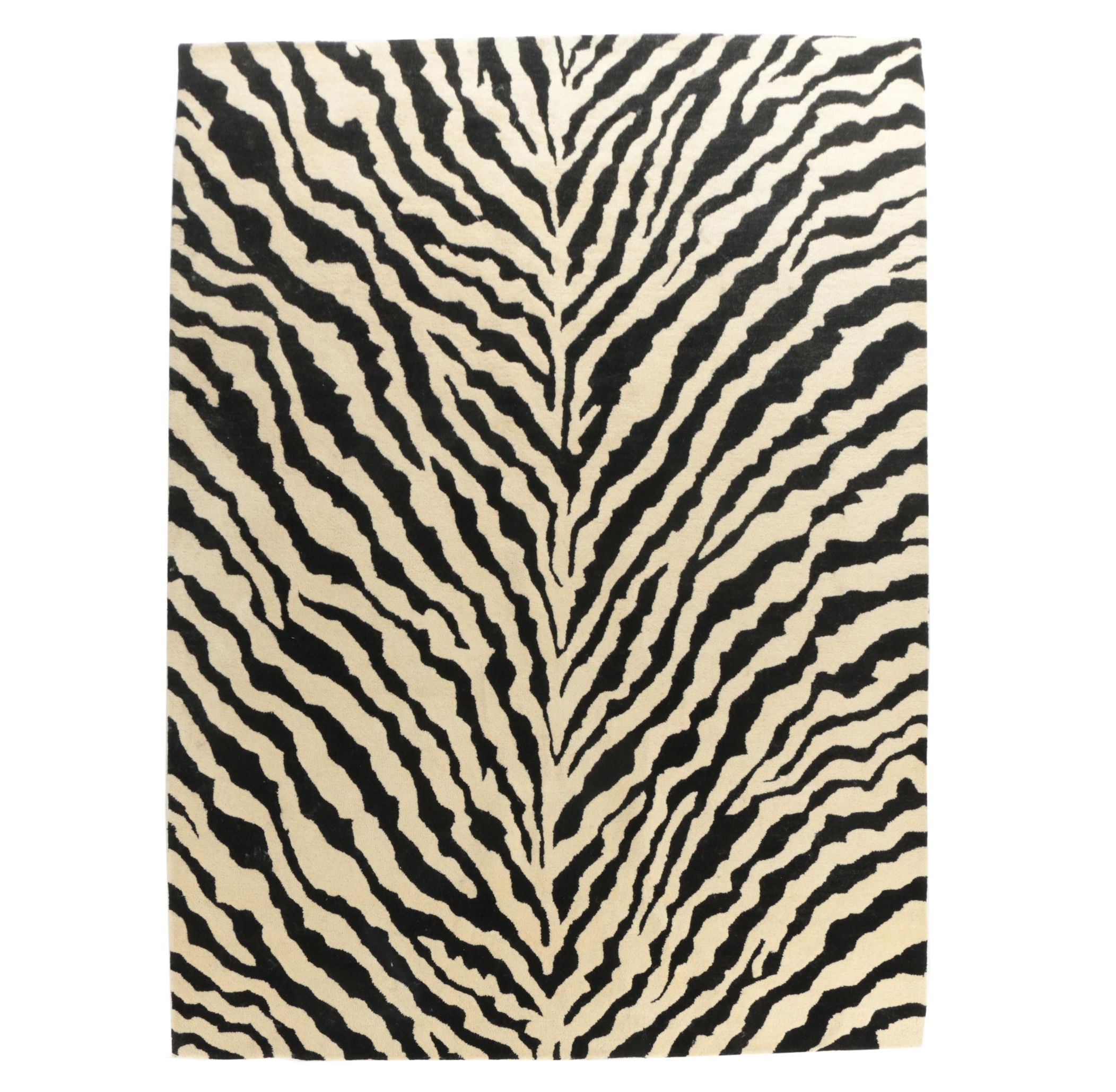 Hand-Tufted Zebra-Stripe Indian Wool Area Rug