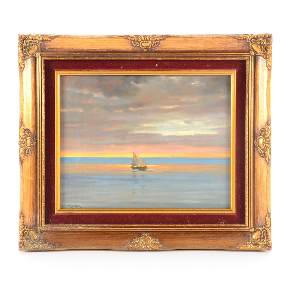 Christian Dybdal Larsen Oil Painting on Board of Sailboat at Sea