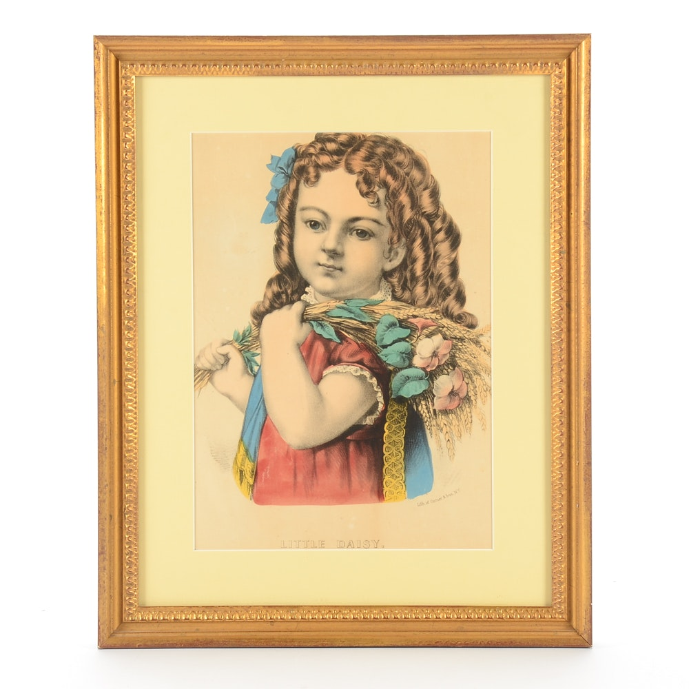 """Antique Currier & Ives Hand-colored Lithograph """"Little Daisy"""""""
