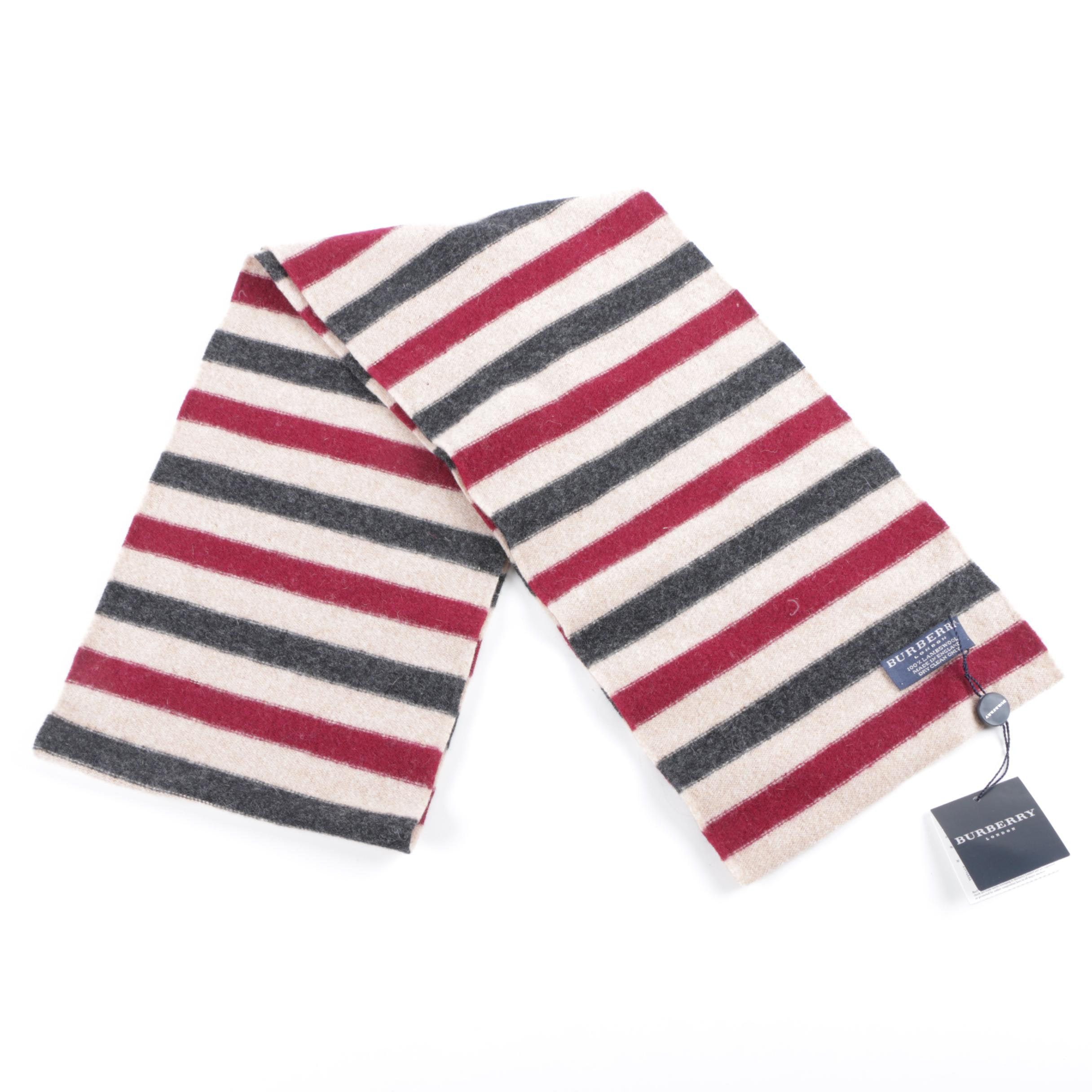 Burberry London Lambswool Stripe Scarf